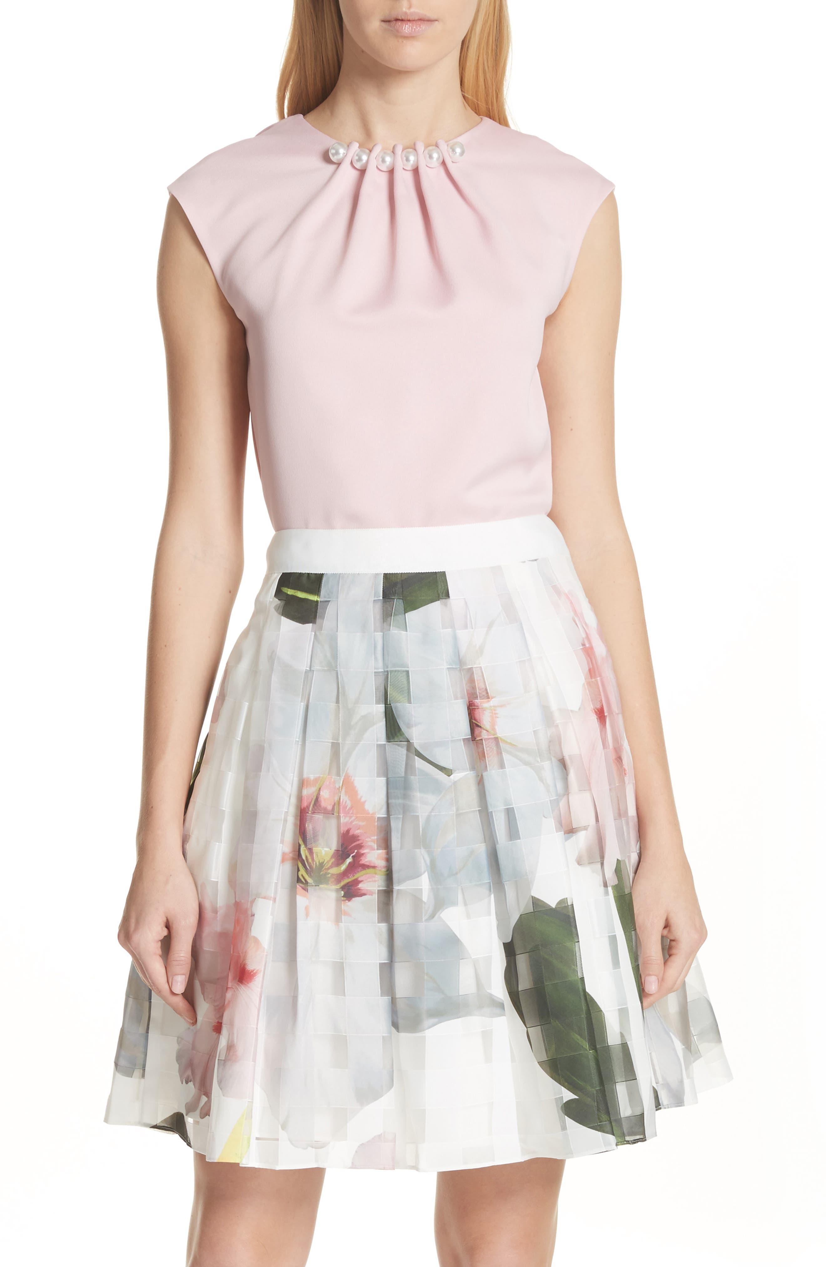 Embellished Neck Top,                         Main,                         color, Dusky Pink