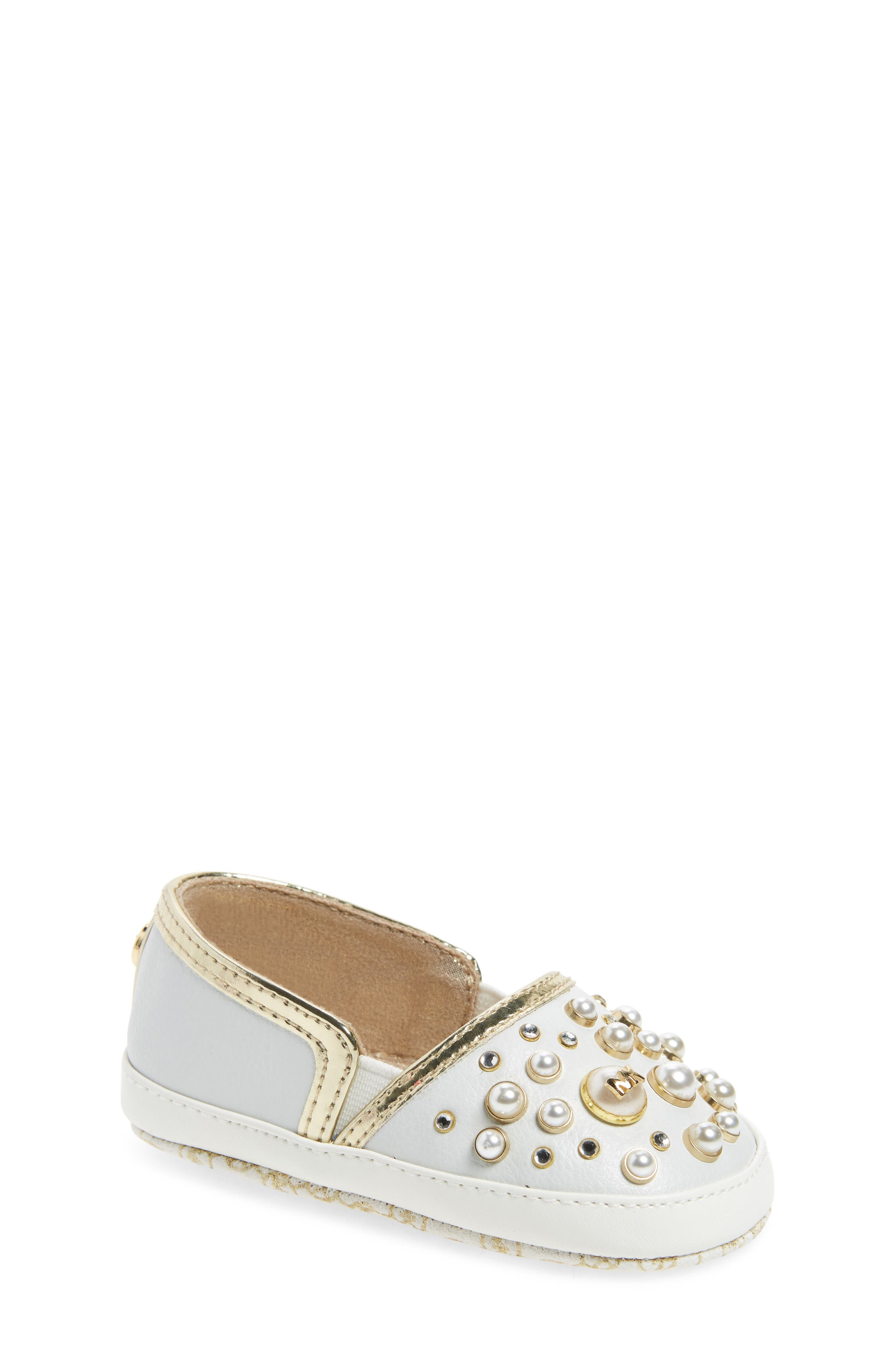 MICHAEL Michael Kors Baby Flame Embellished Crib Shoe (Baby)