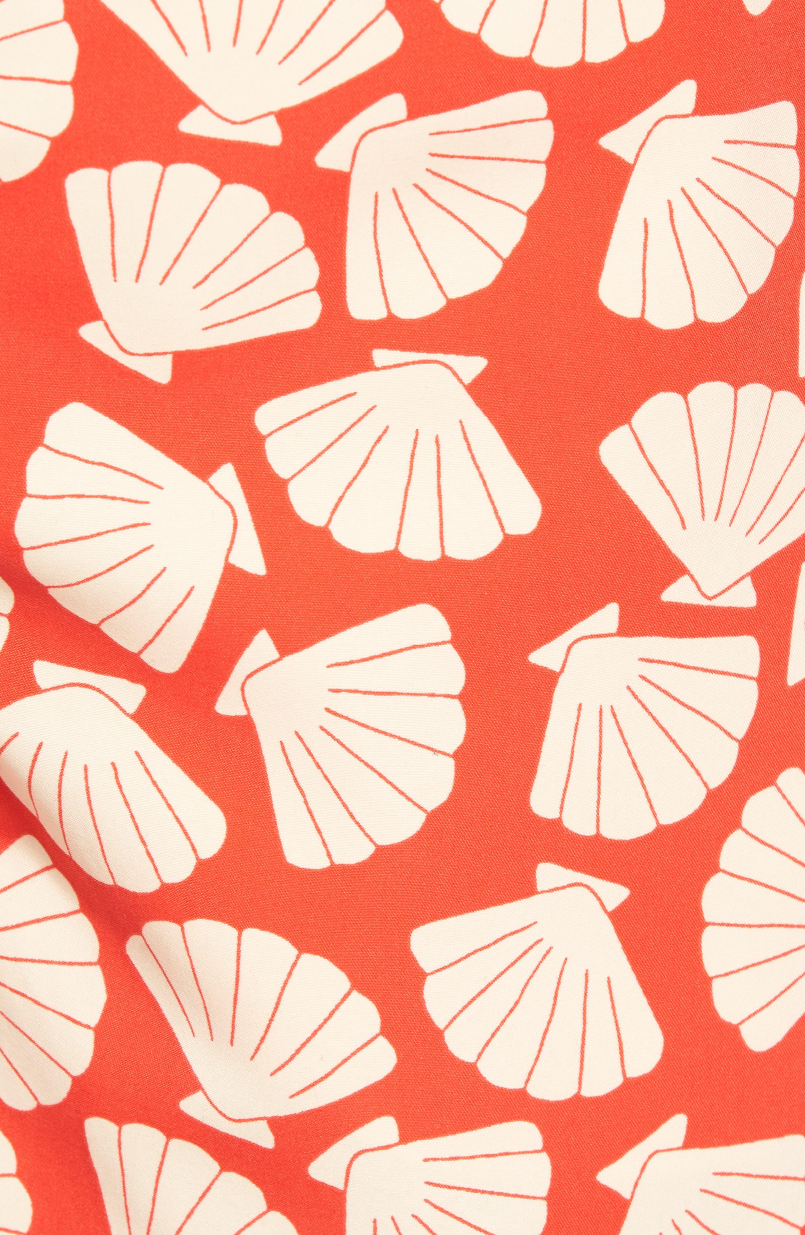 Shell Print Swim Trunks,                             Alternate thumbnail 5, color,                             Vanilla