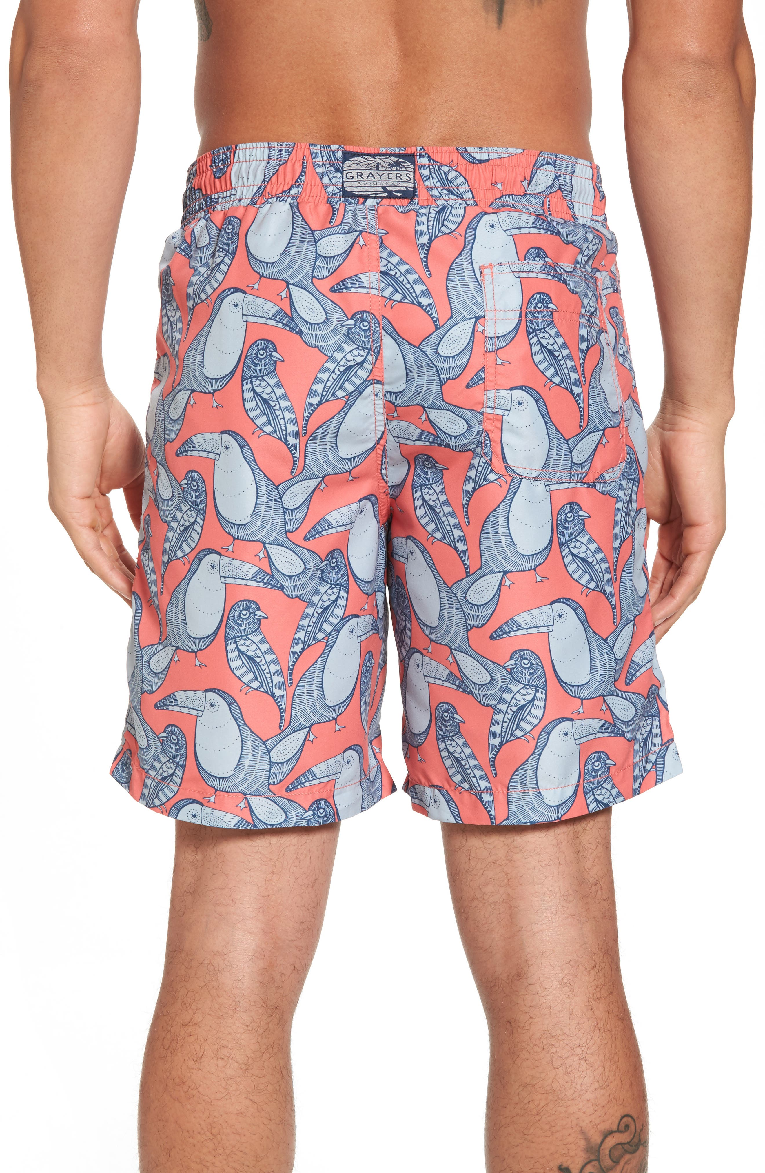 Toucan Swim Trunks,                             Alternate thumbnail 2, color,                             Red Blue