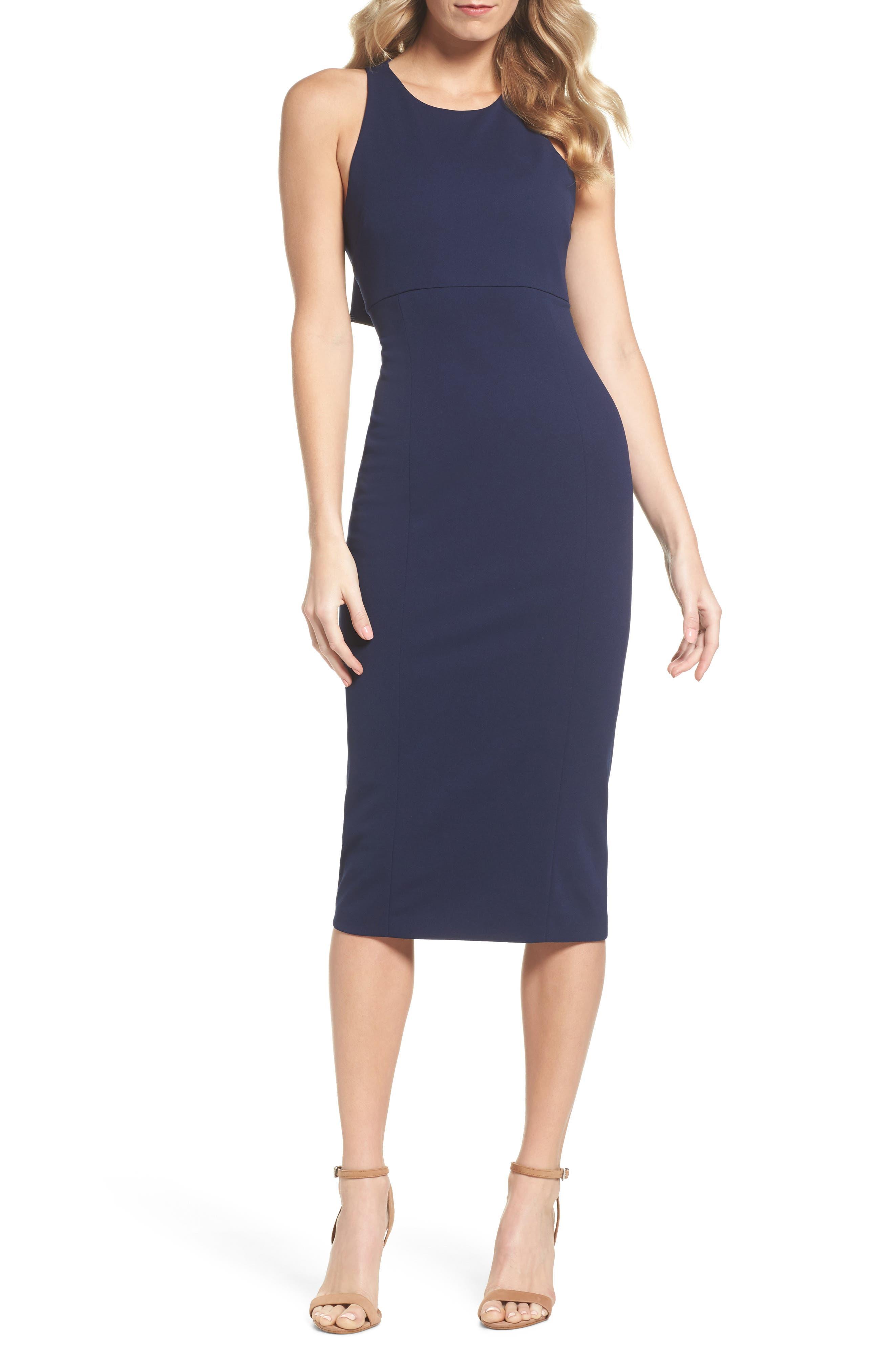 Open Back Sheath Dress,                         Main,                         color, Navy