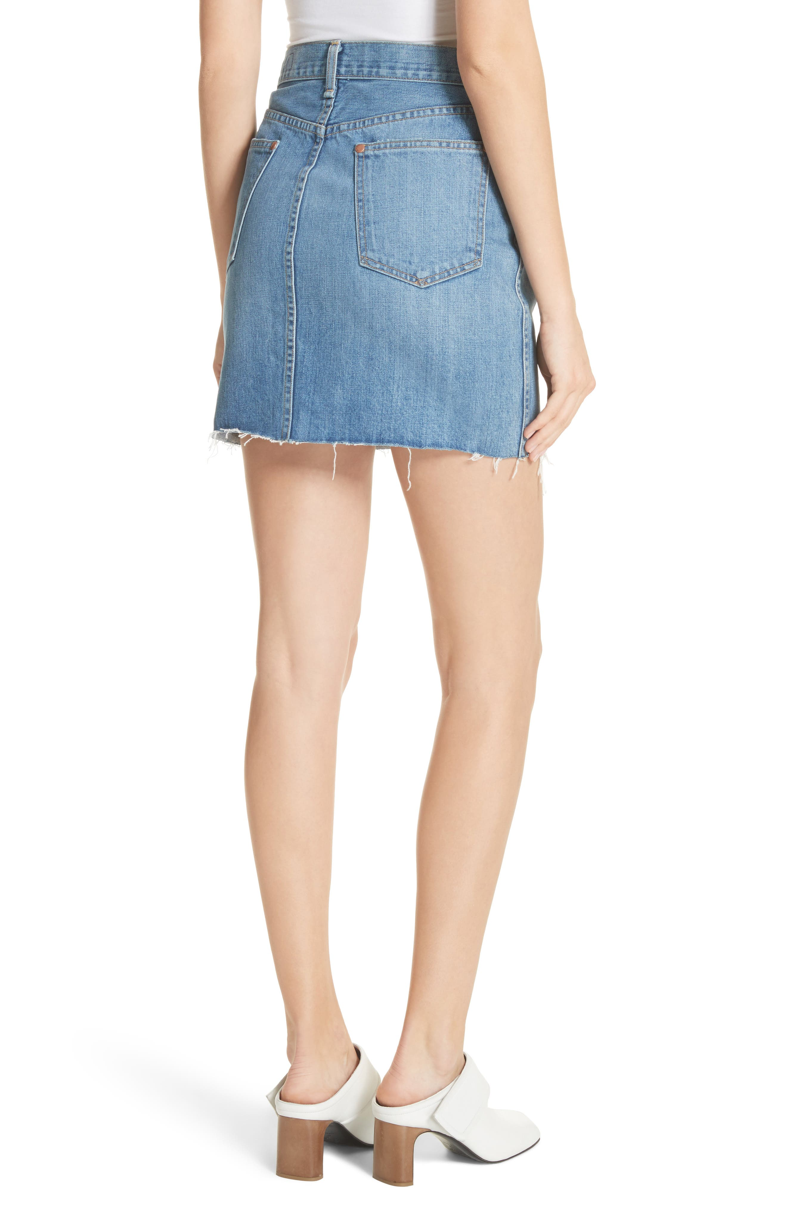 Alternate Image 2  - rag & bone/JEAN Moss High Waist Denim Miniskirt (Clean Levee)