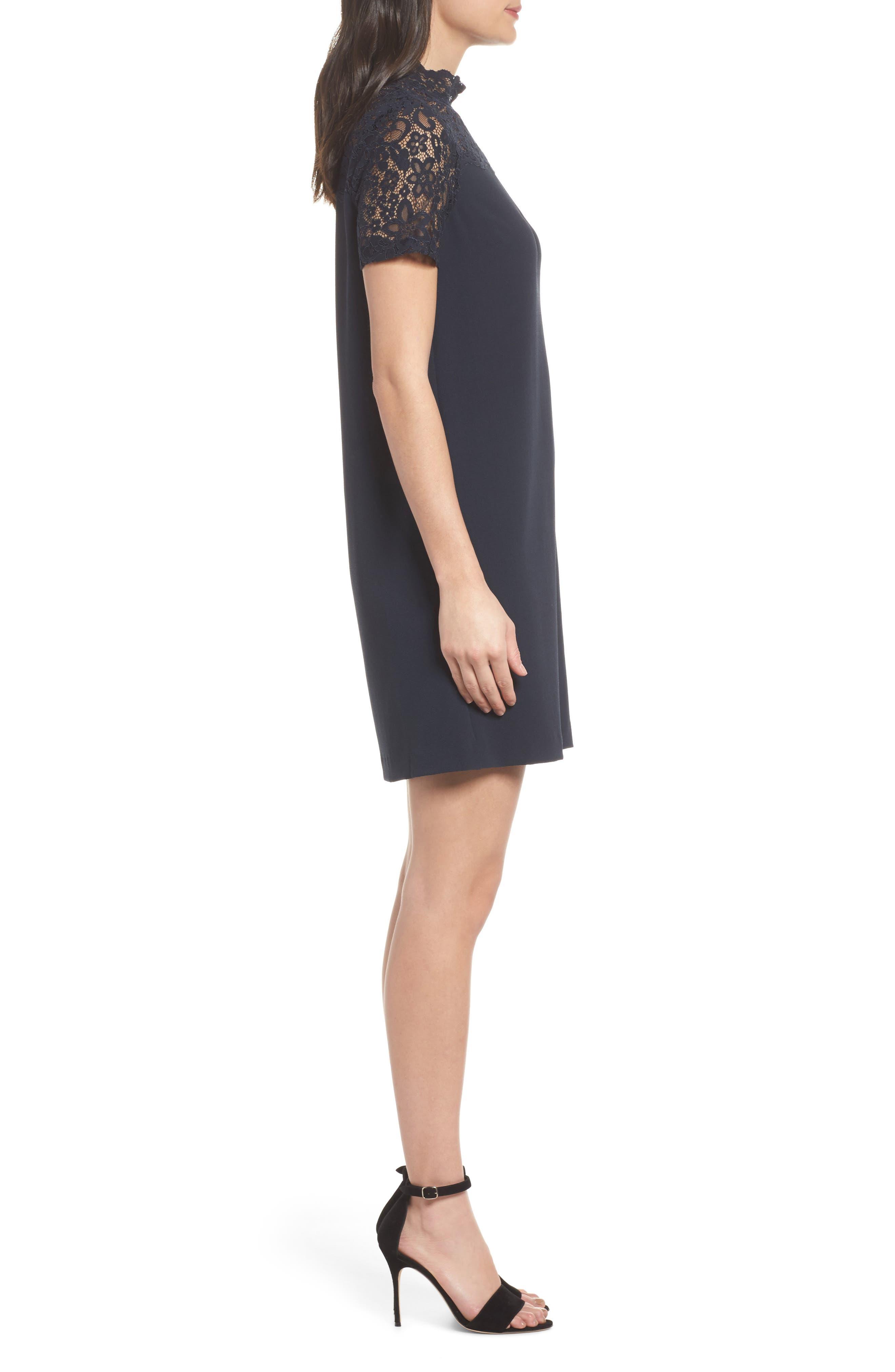 Portofino Lace Detail Shift Dress,                             Alternate thumbnail 3, color,                             Navy