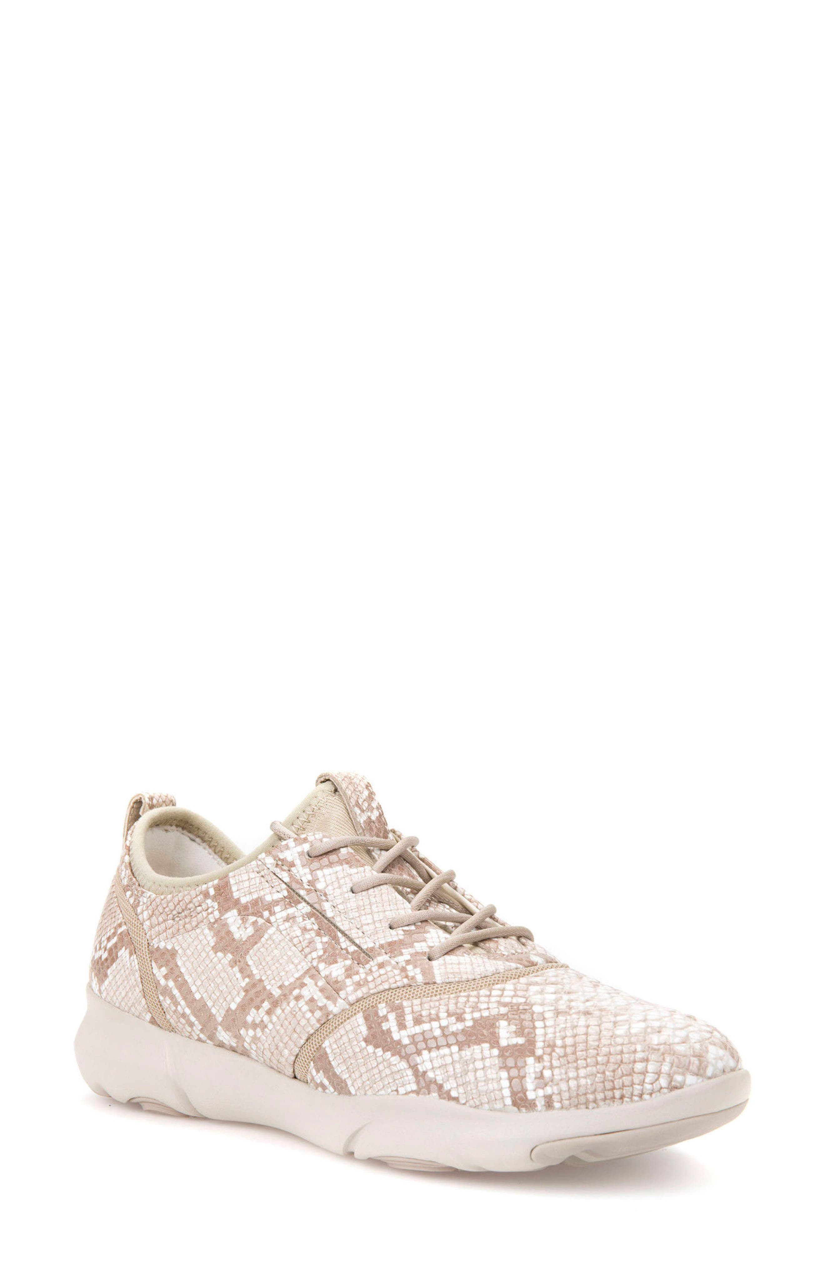 Nebula S 1 Python Embossed Sneaker,                         Main,                         color, Beige Leather