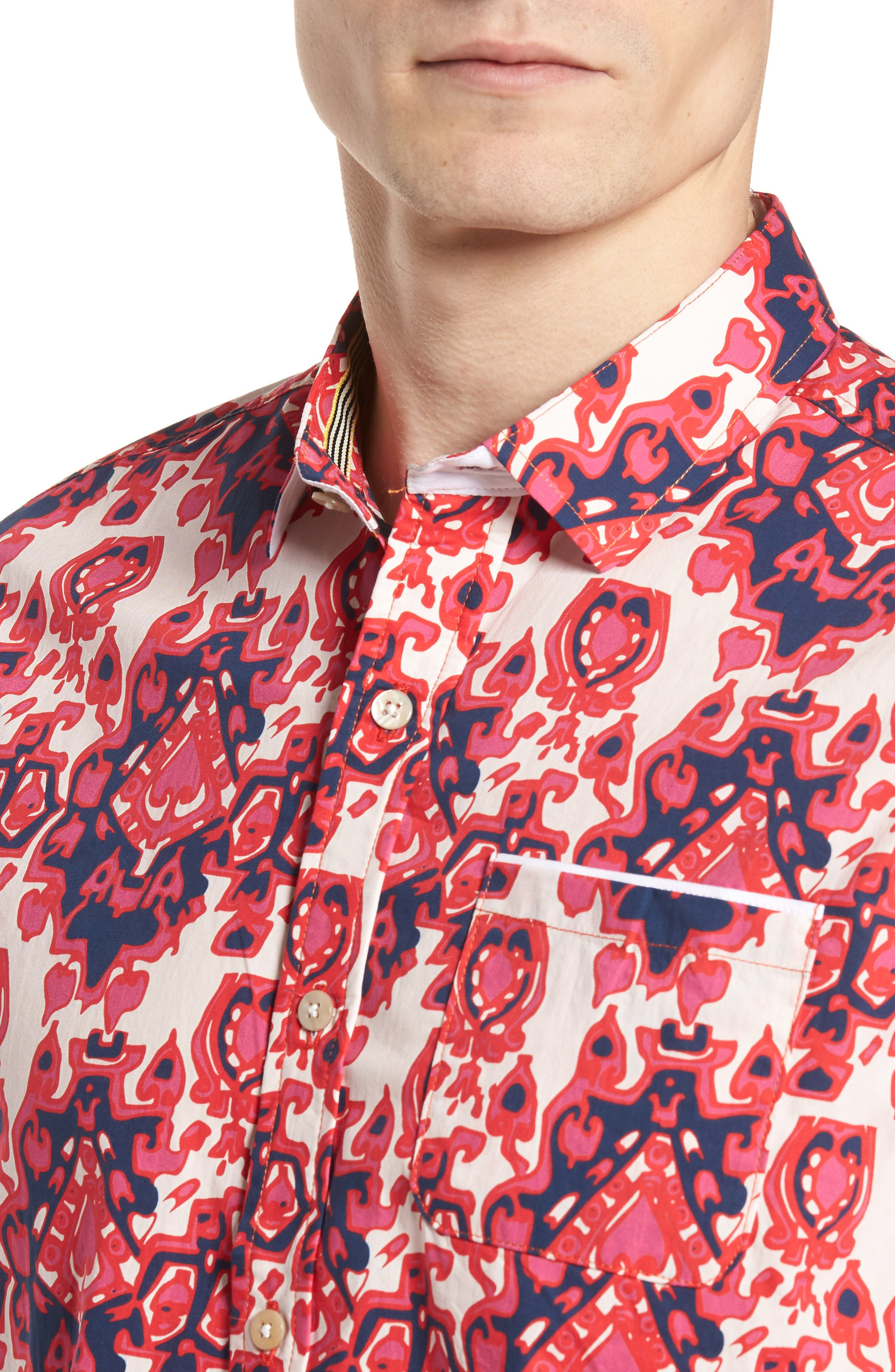 Abstract Culture Woven Shirt,                             Alternate thumbnail 2, color,                             Punch Red
