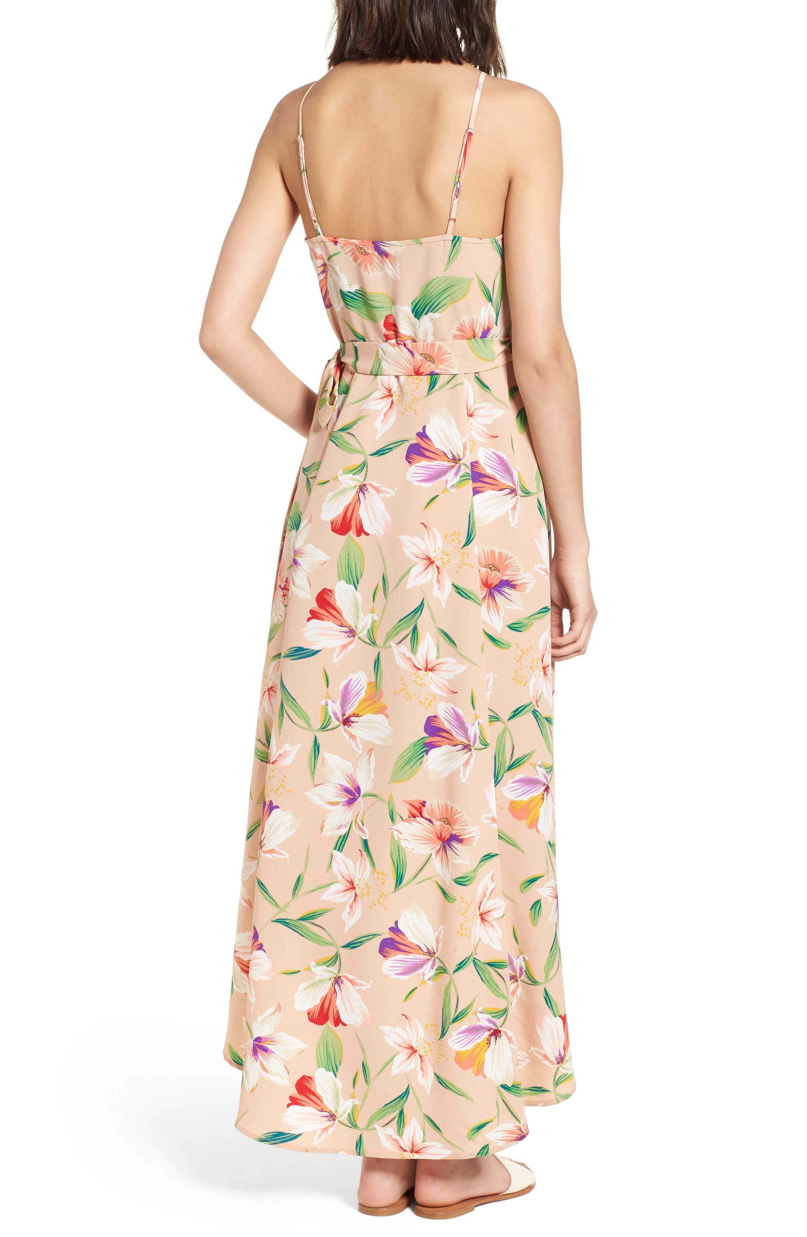 Floral Wrap Maxi Dress,                             Alternate thumbnail 2, color,                             Mocha-Multi Floral