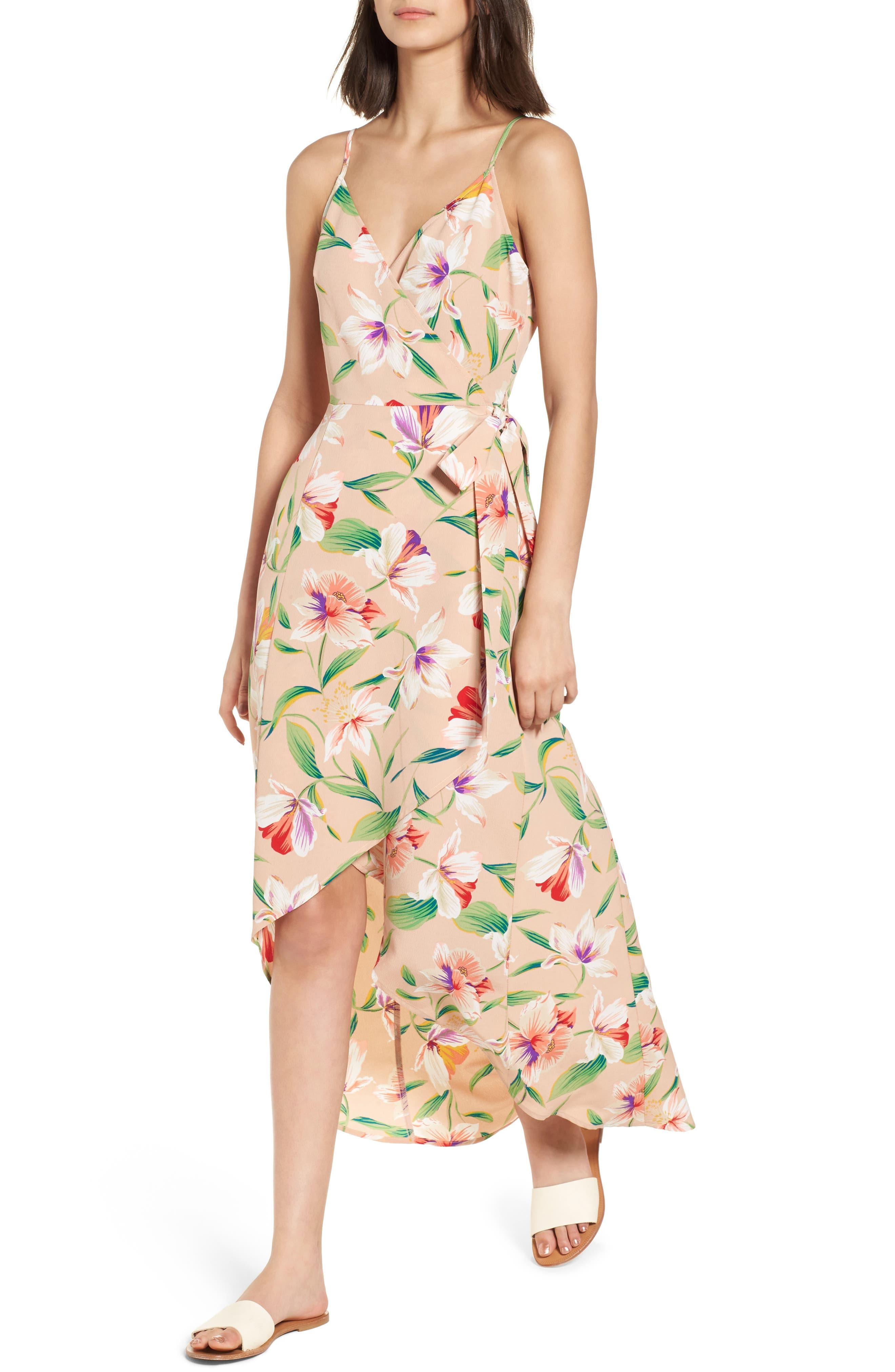 Floral Wrap Maxi Dress,                         Main,                         color, Mocha-Multi Floral