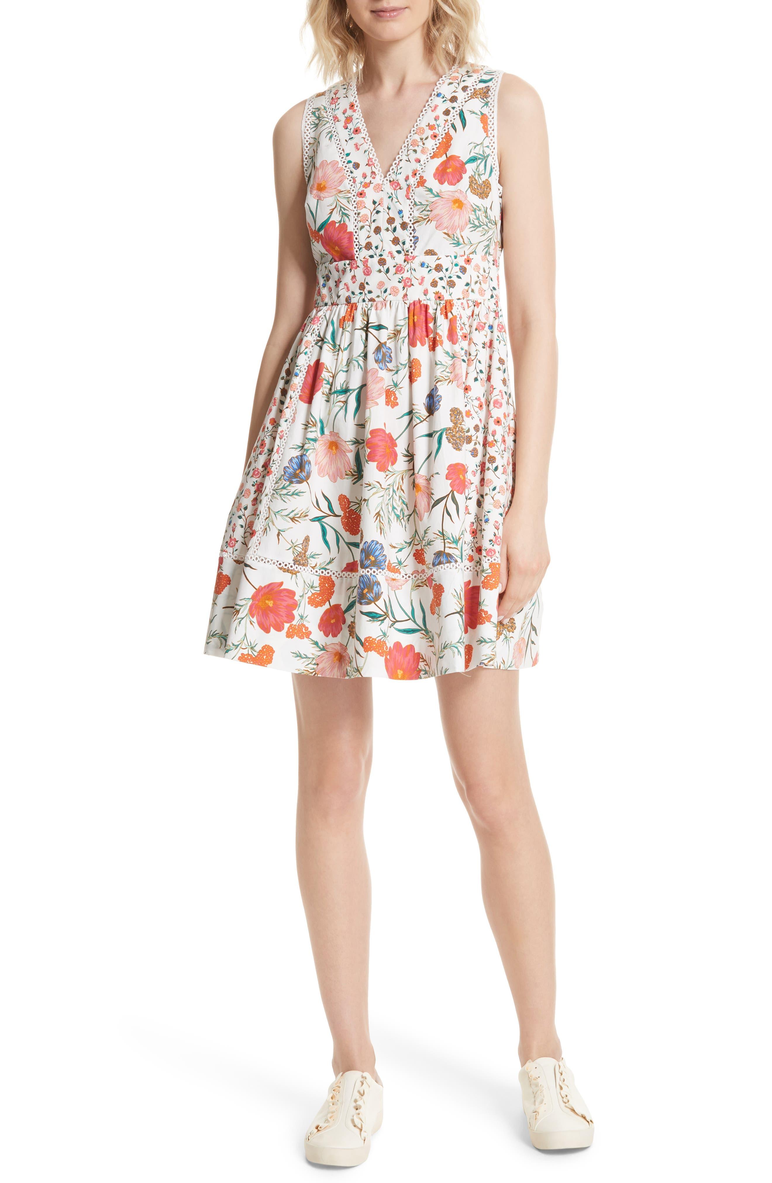 blossom sleeveless fit & flare dress,                             Main thumbnail 1, color,                             Cream