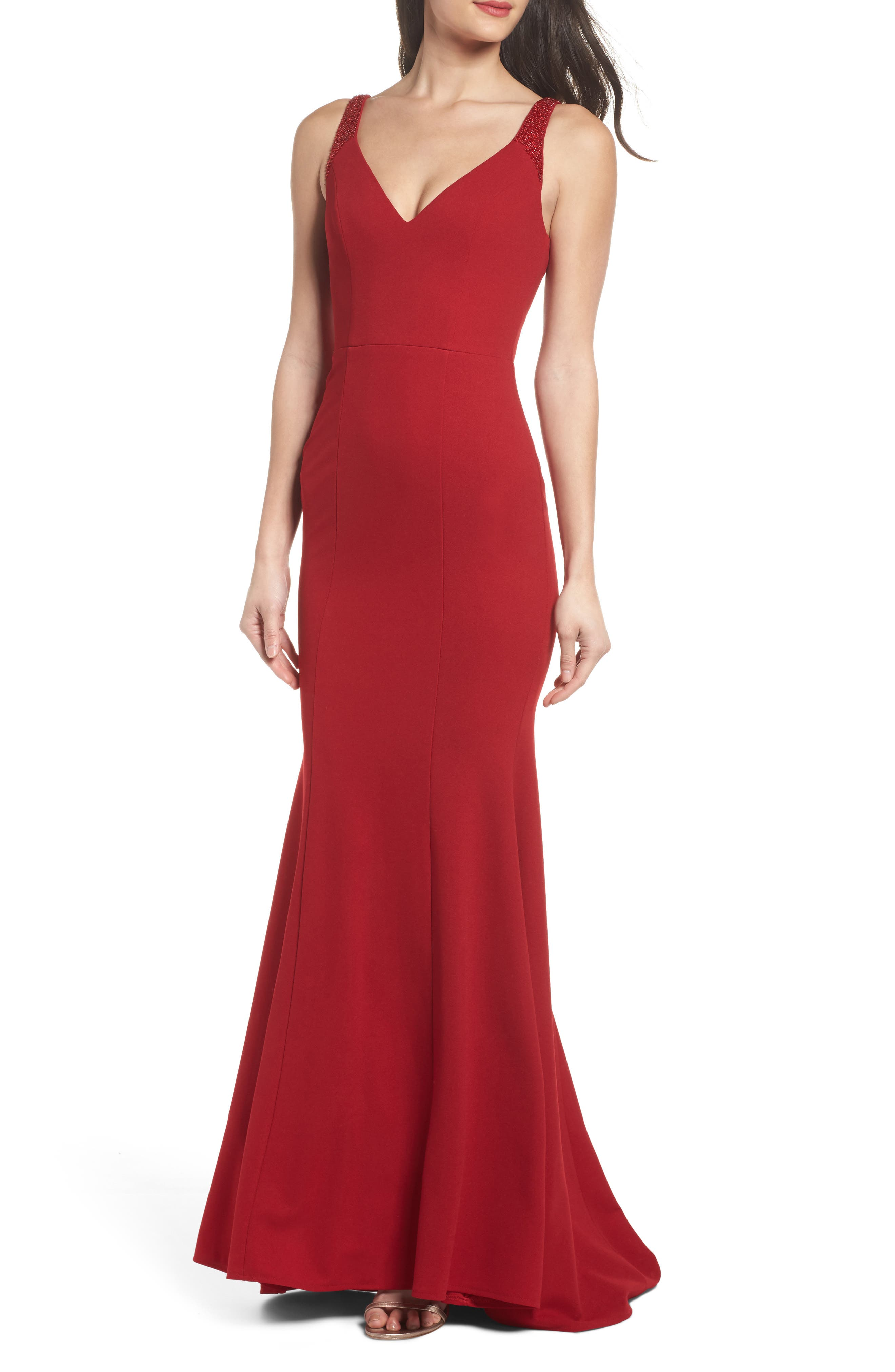 Lulus Embellished Strap Trumpet Gown