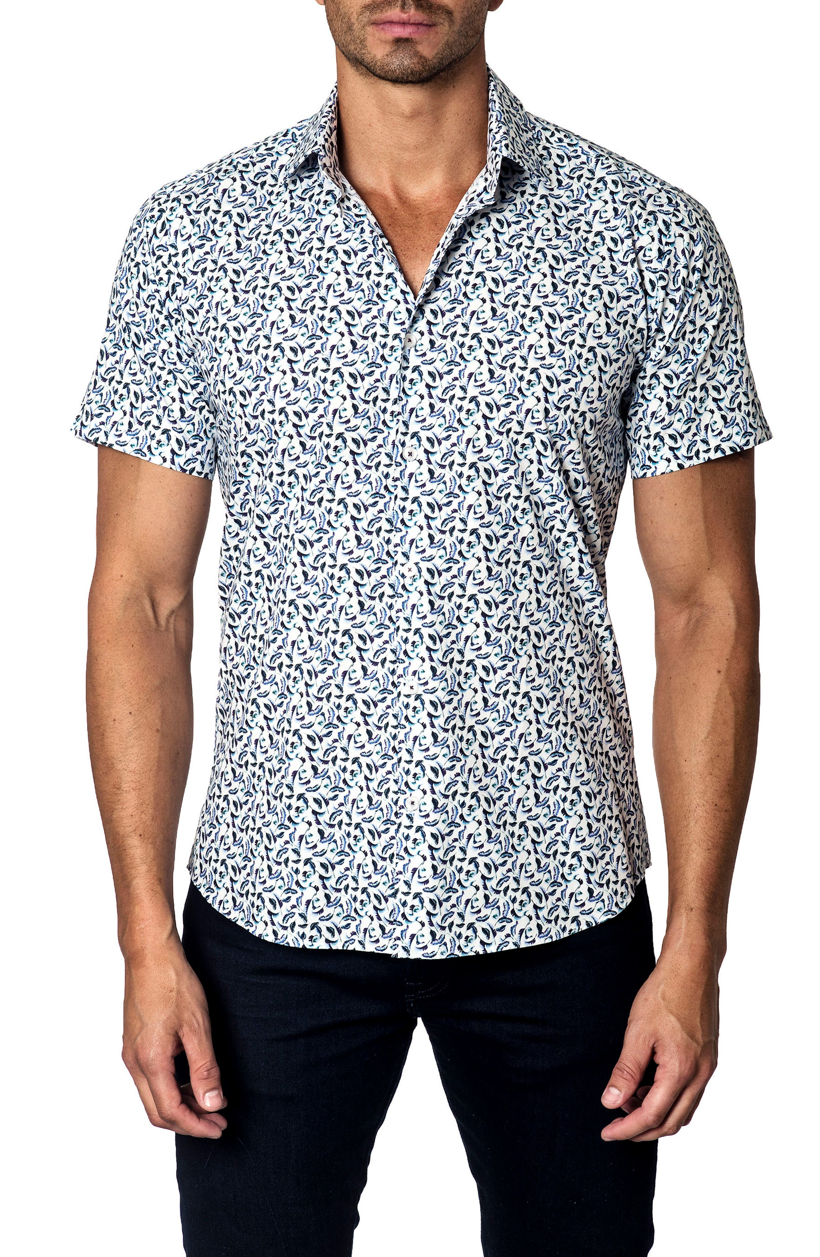 Slim Fit Feather Print Sport Shirt,                         Main,                         color, White Navy Leaves
