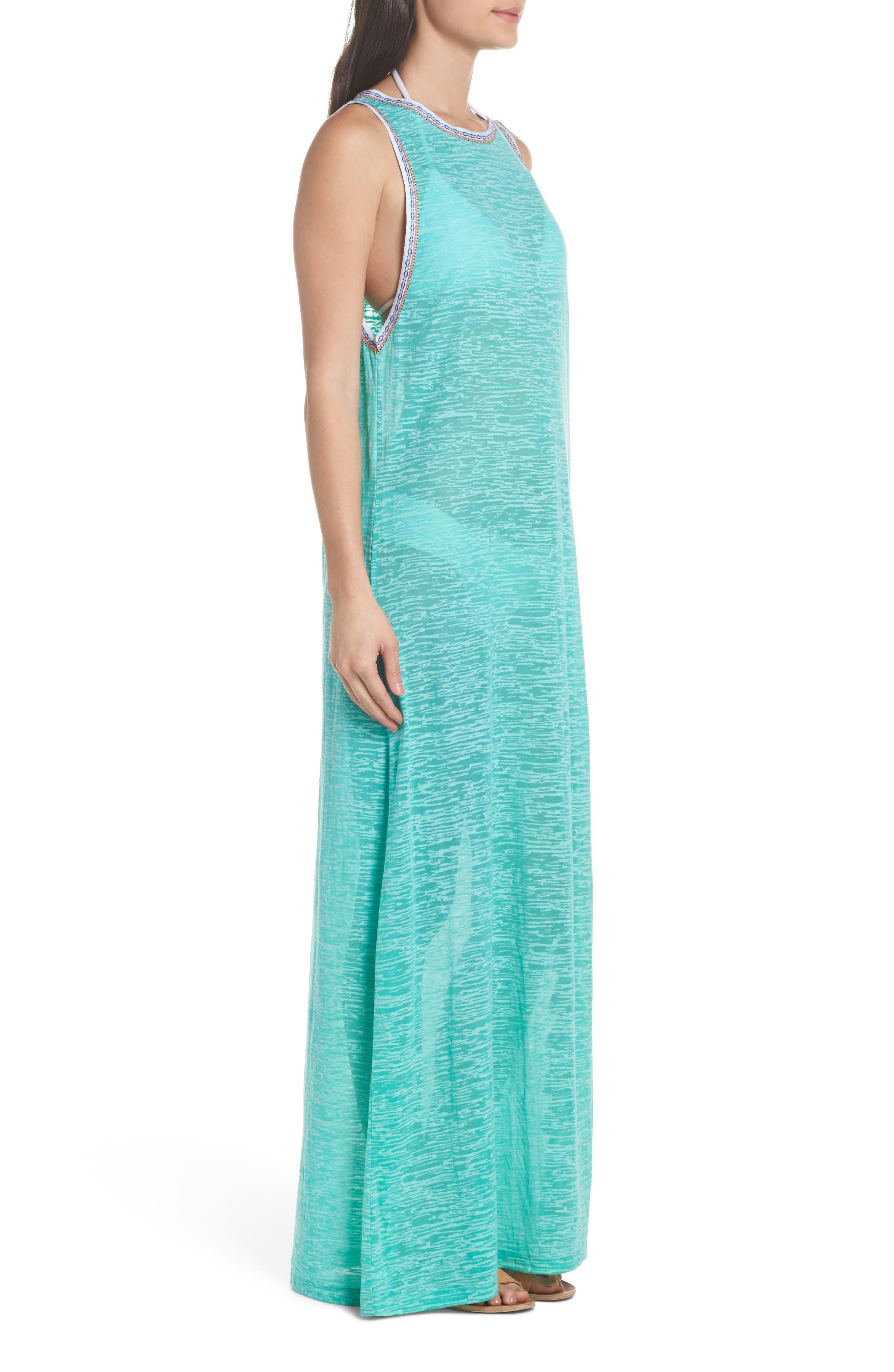 Tassel Slit Cover-Up Maxi Dress,                             Alternate thumbnail 3, color,                             Mint