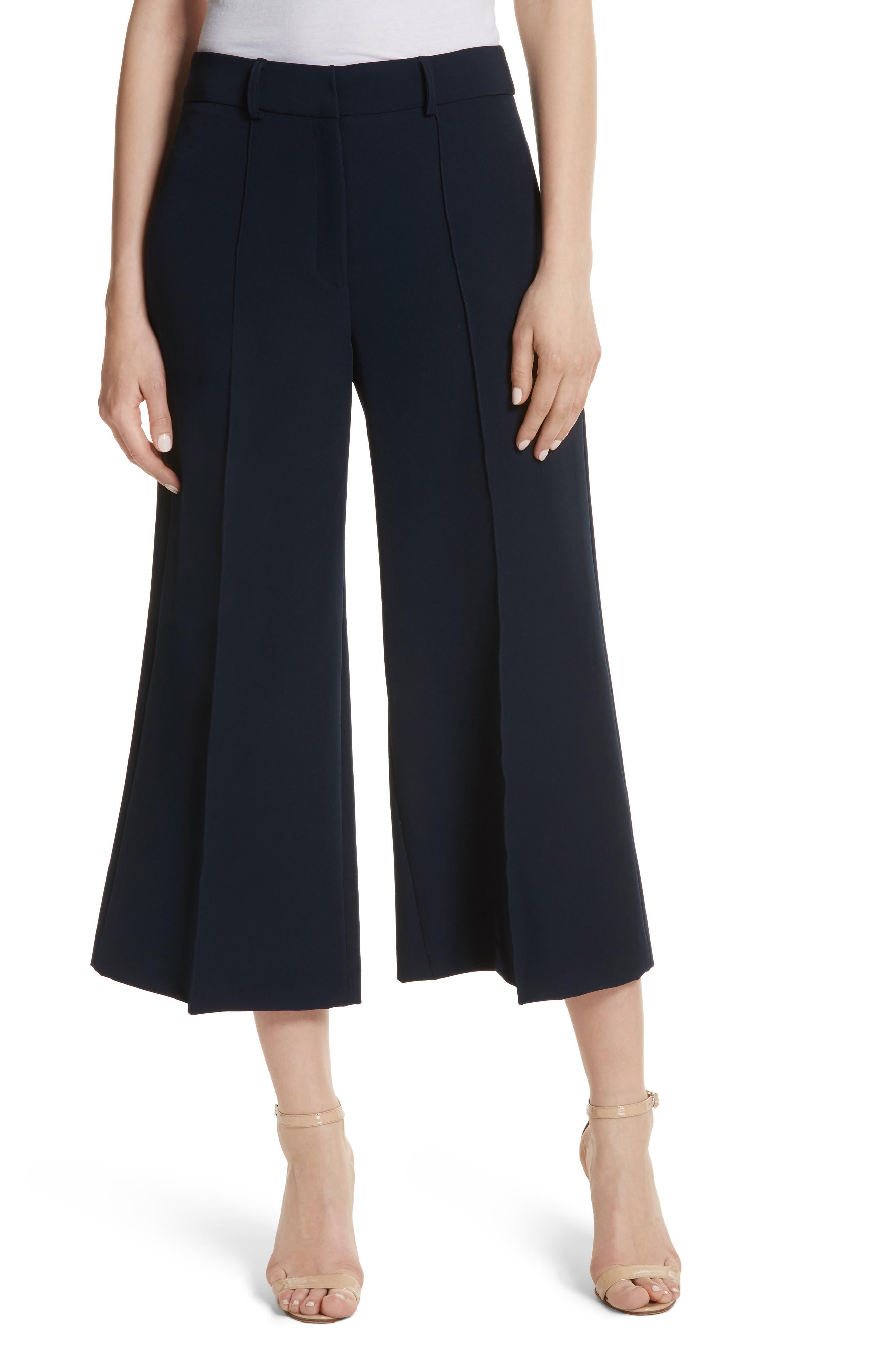 Hayden Crop Wide Leg Pants,                         Main,                         color, Navy