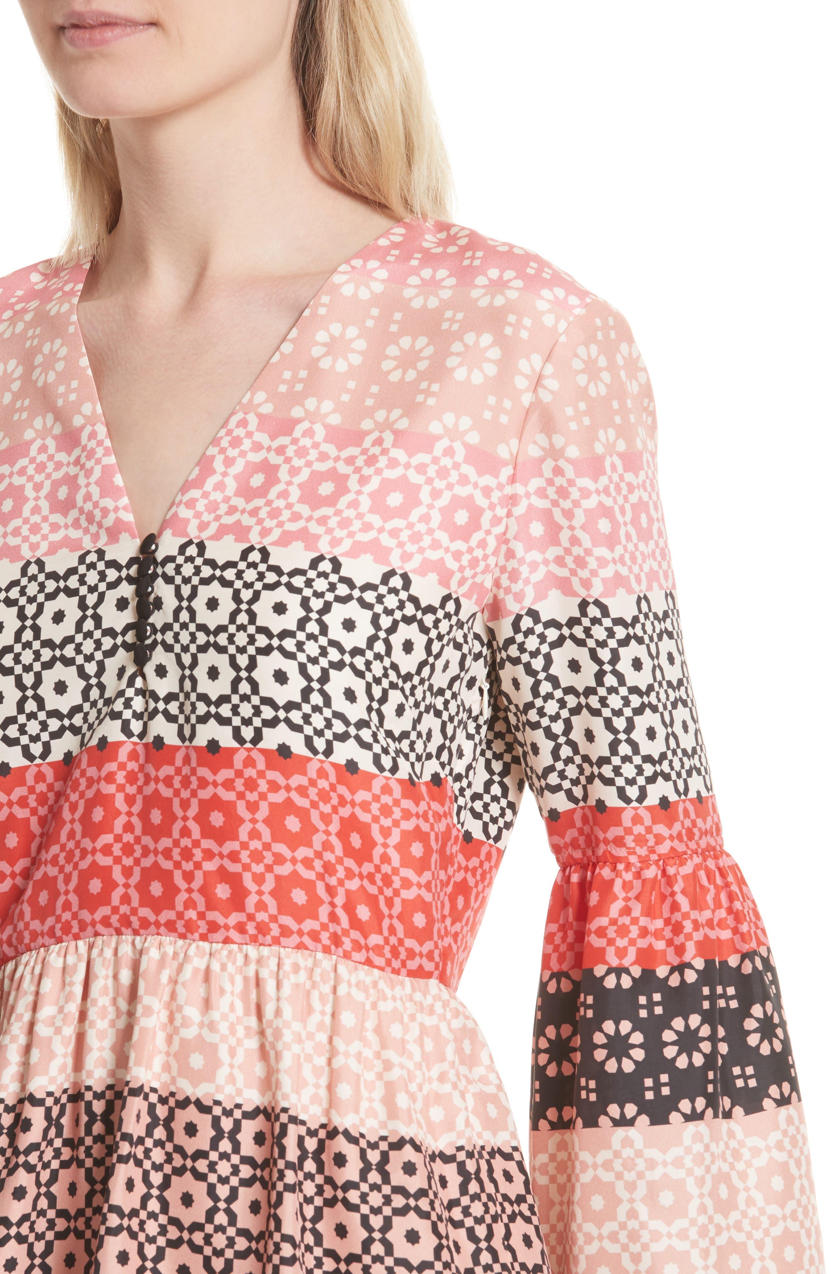 Ruffled Sleeve Print Silk Minidress,                             Alternate thumbnail 4, color,                             Carnation