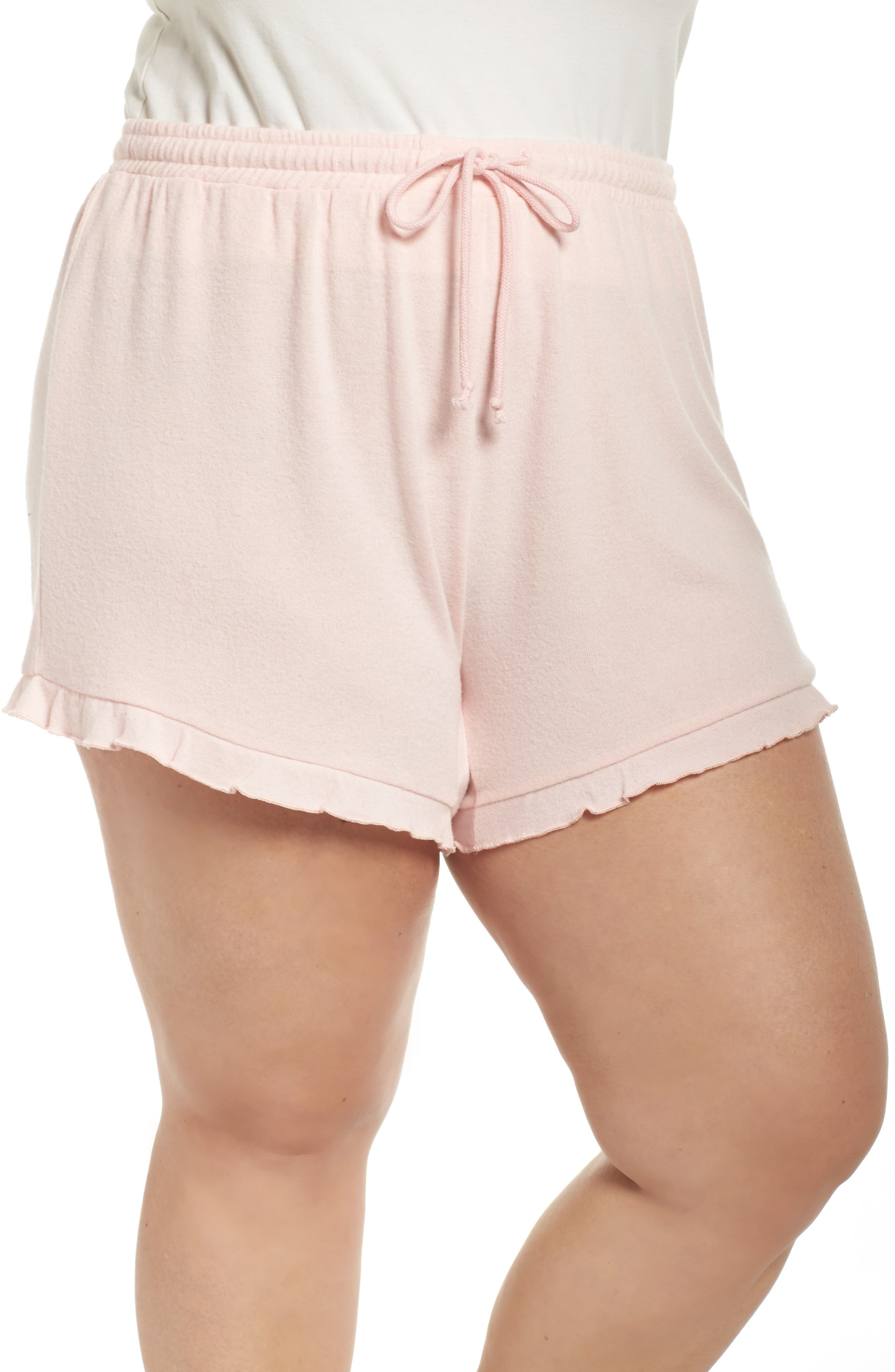 Ruffle Lounge Shorts,                             Main thumbnail 1, color,                             Blush
