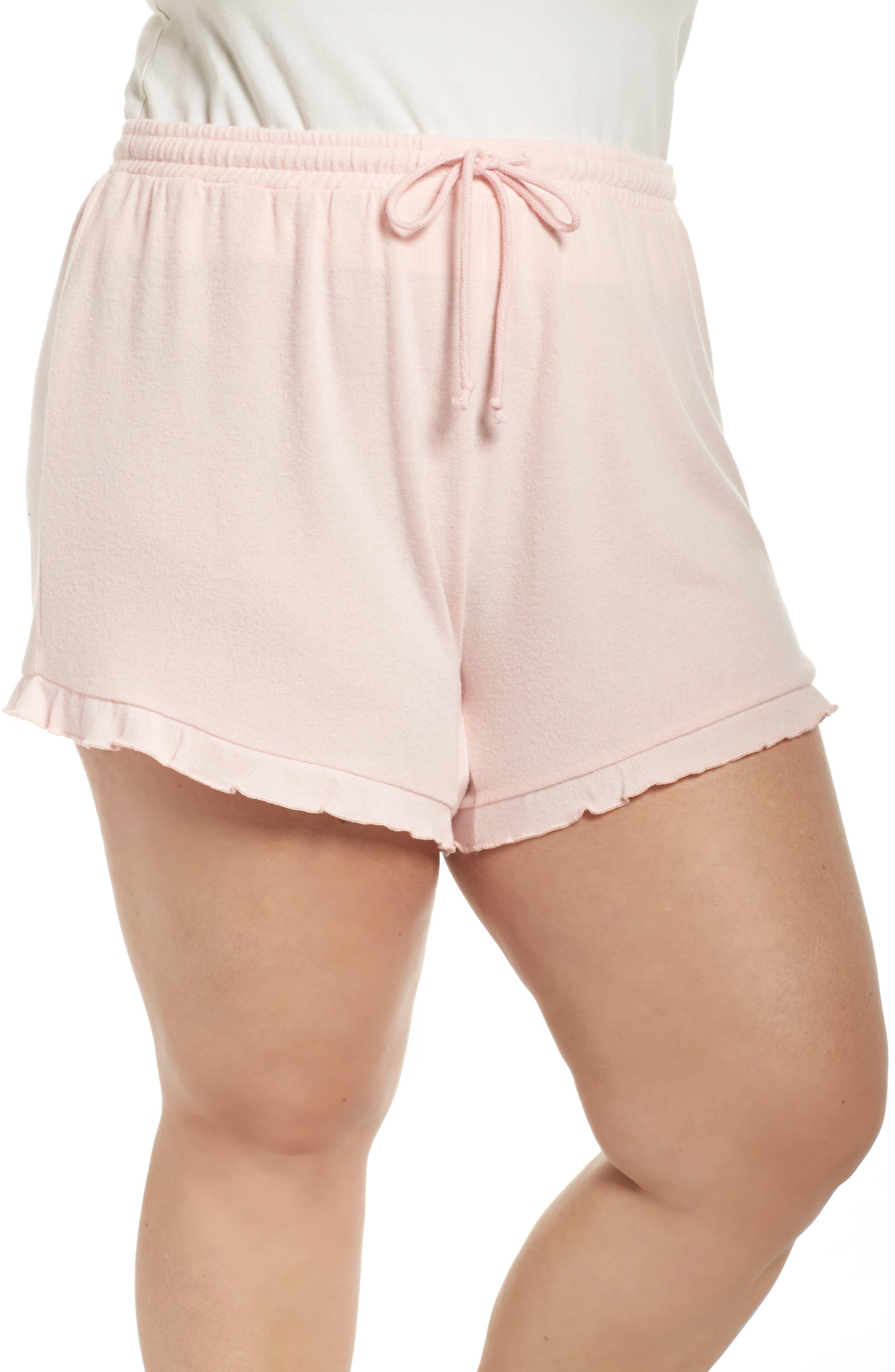 Ruffle Lounge Shorts,                         Main,                         color, Blush