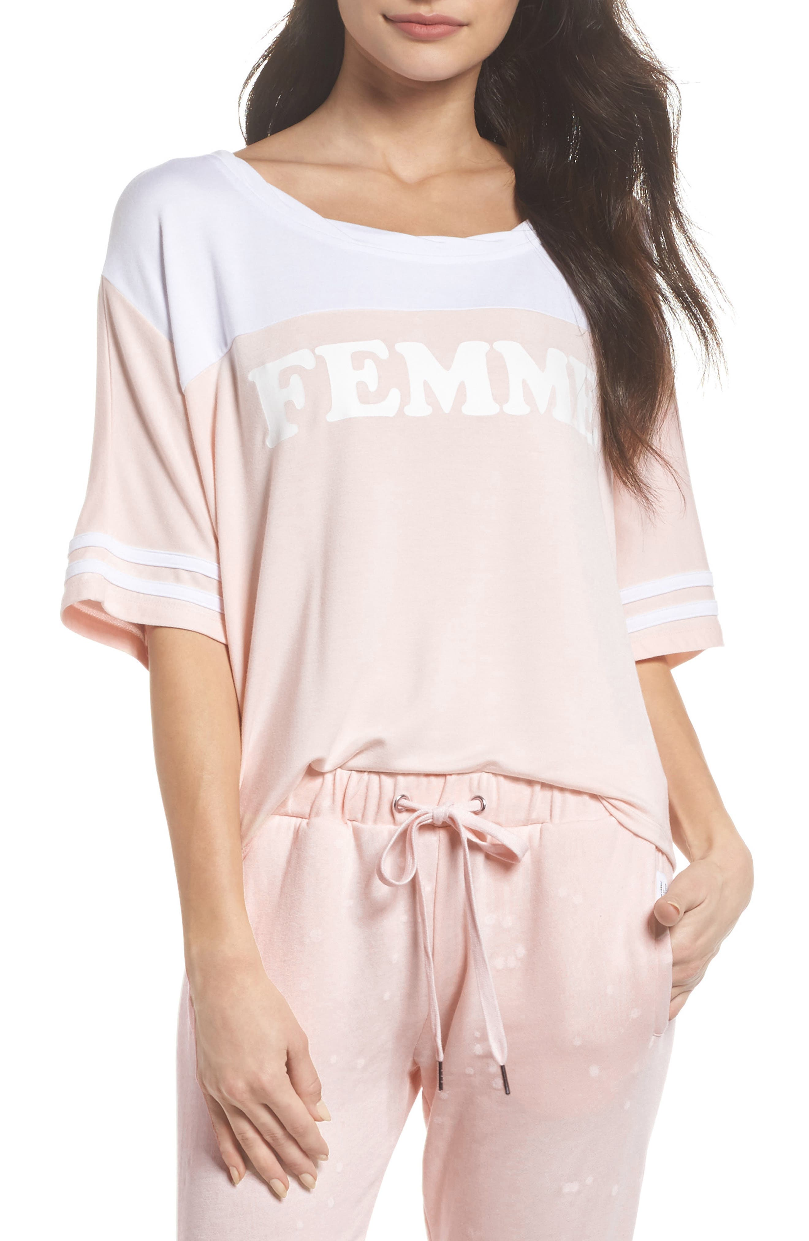 Team Femme Baggy Tee,                         Main,                         color, Shell/ White