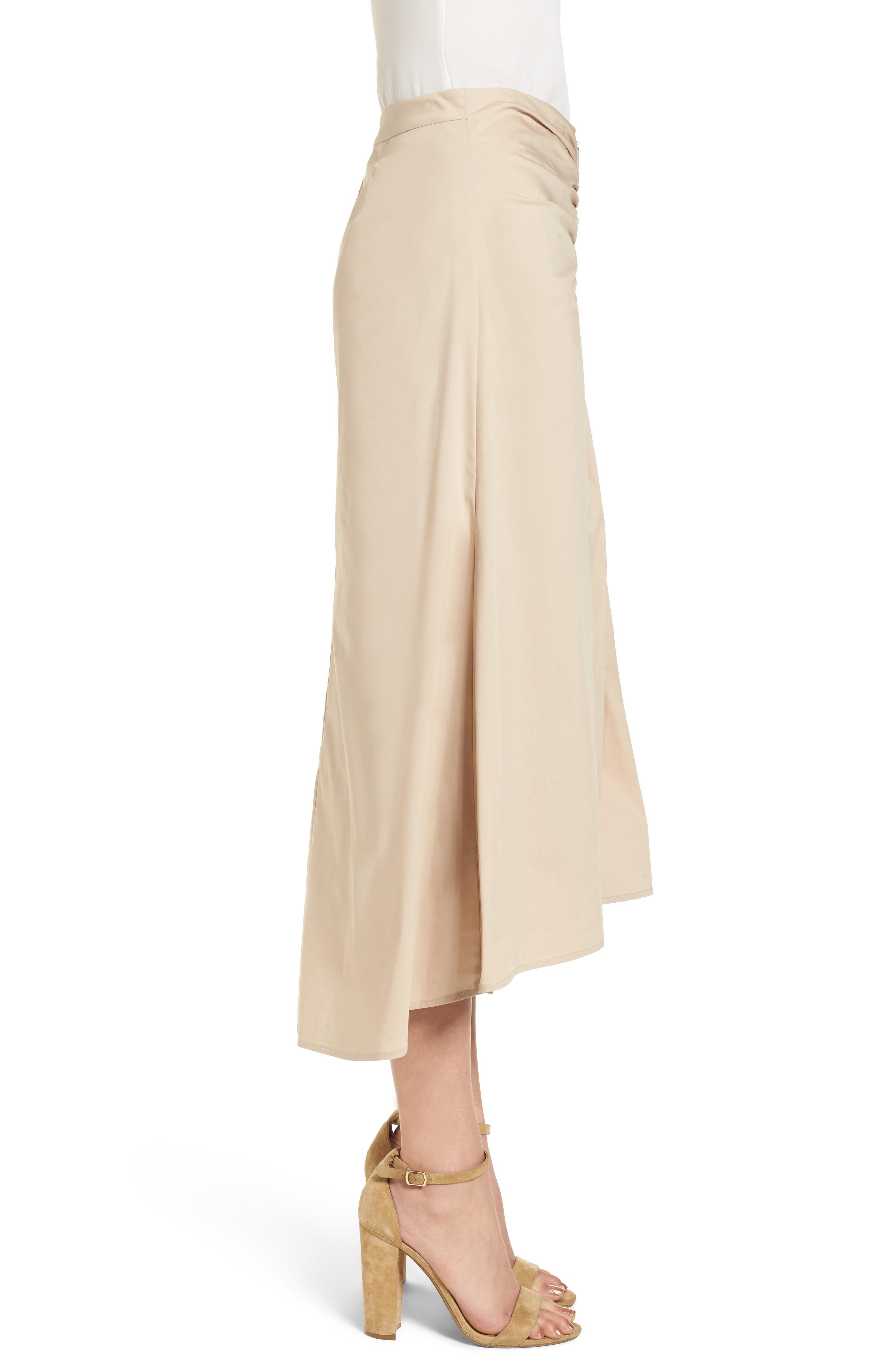 Ruched Front Midi Skirt,                             Alternate thumbnail 4, color,                             Tan Oxford