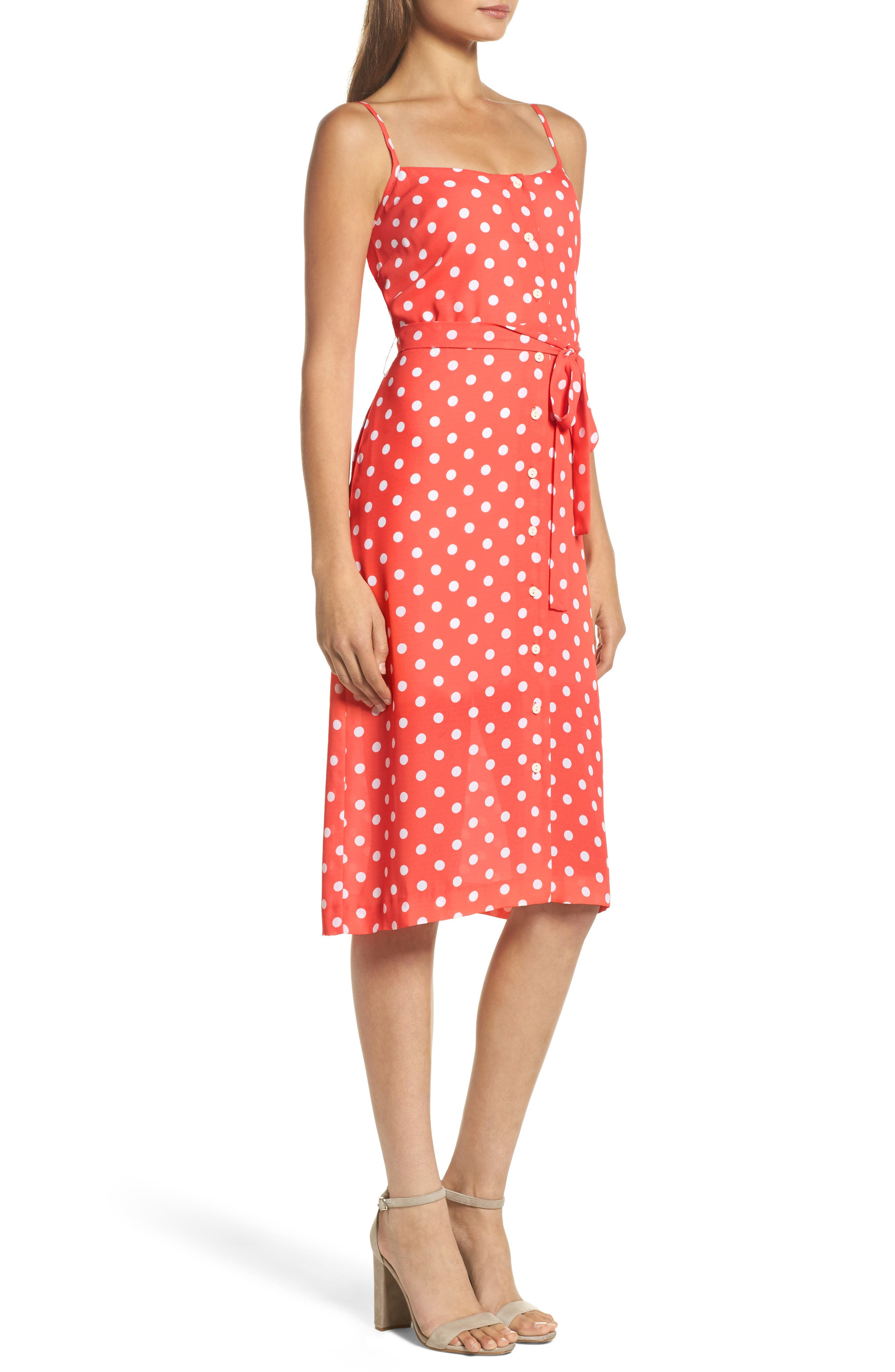 Flower Frolicking Midi Dress,                             Alternate thumbnail 3, color,                             Coral Polka Dot