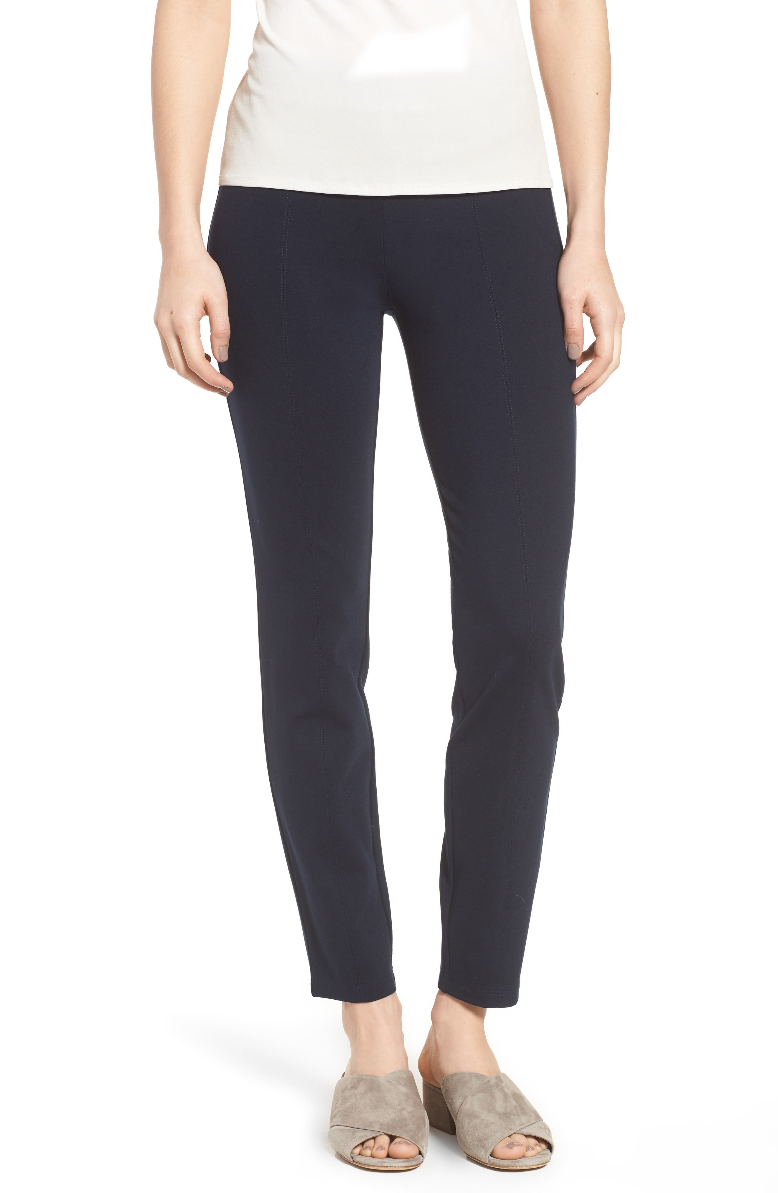 Casual Ponte Pants,                         Main,                         color, Navy