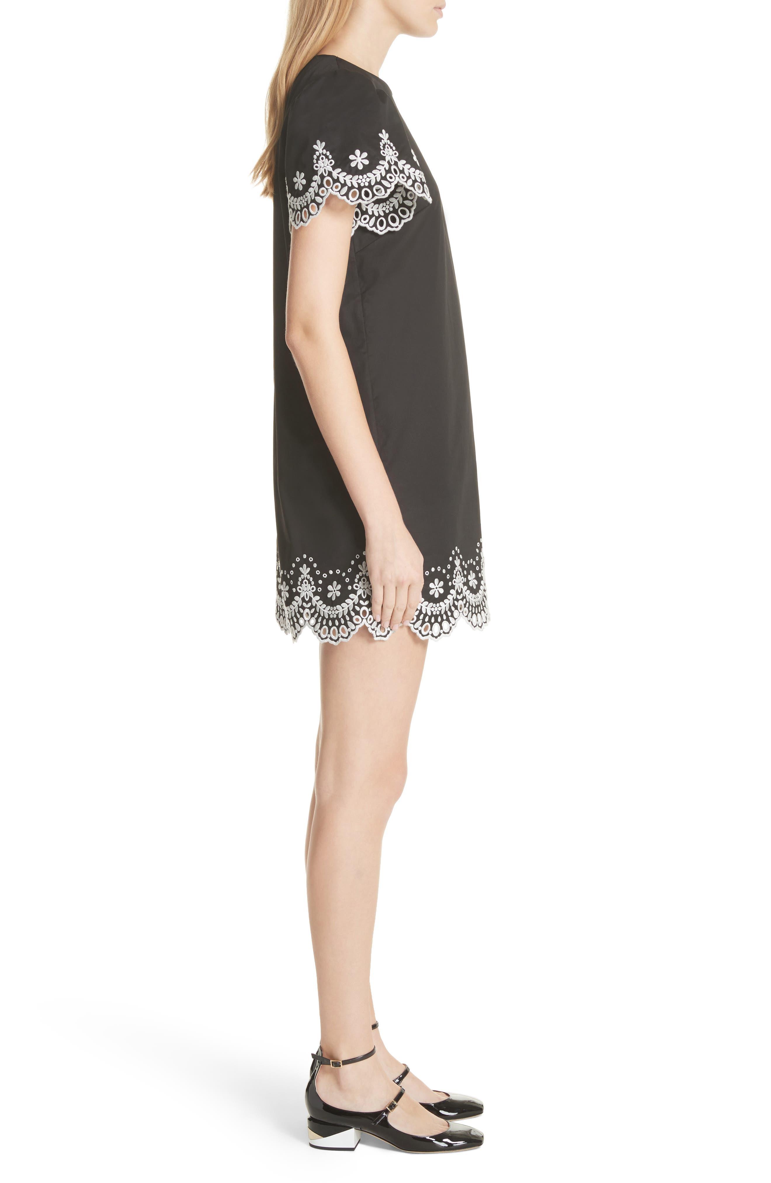 embroidered cutwork minidress,                             Alternate thumbnail 3, color,                             Black