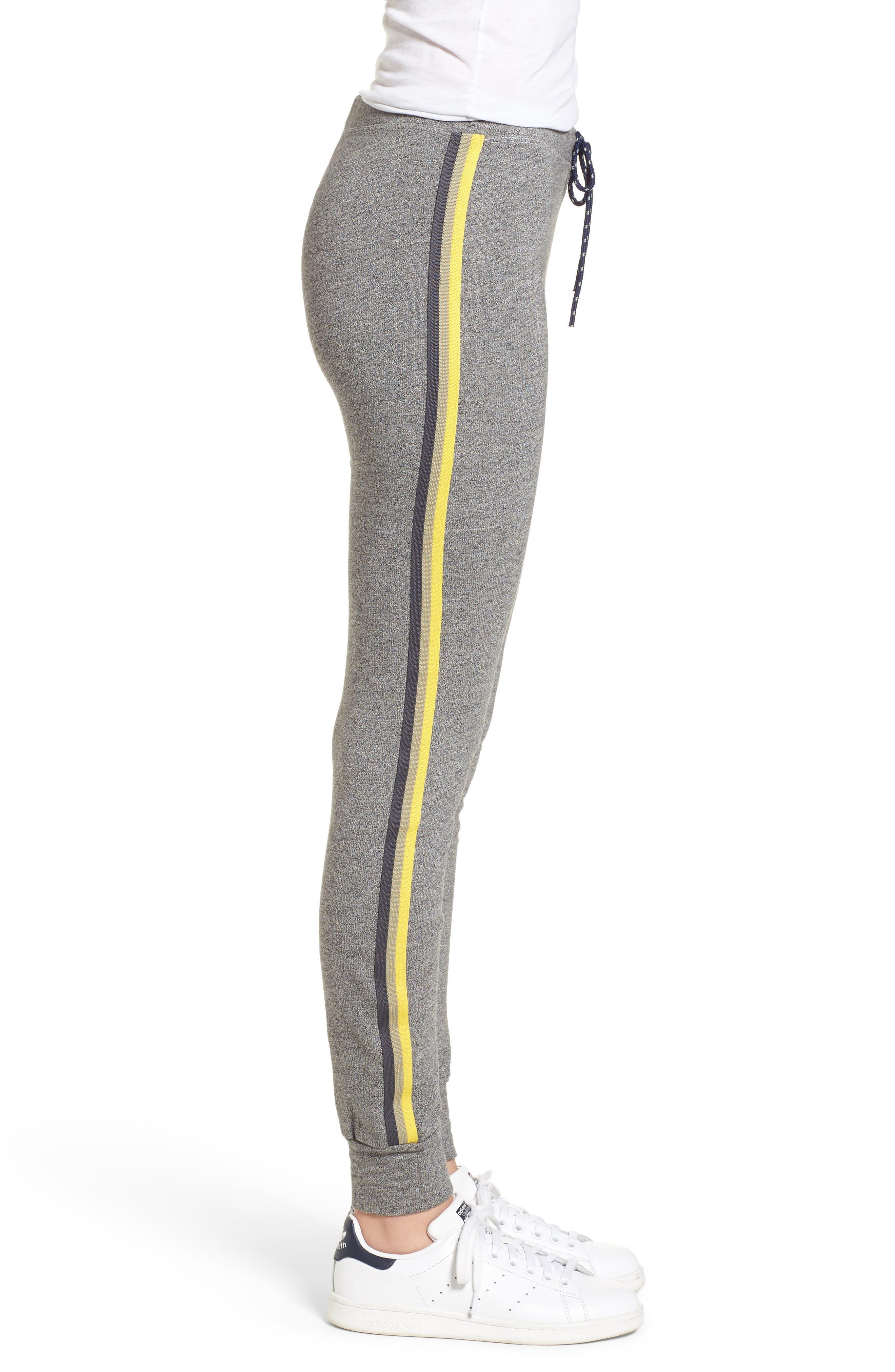 Stripe Trim Skinny Sweatpants,                             Alternate thumbnail 3, color,                             Heather Grey