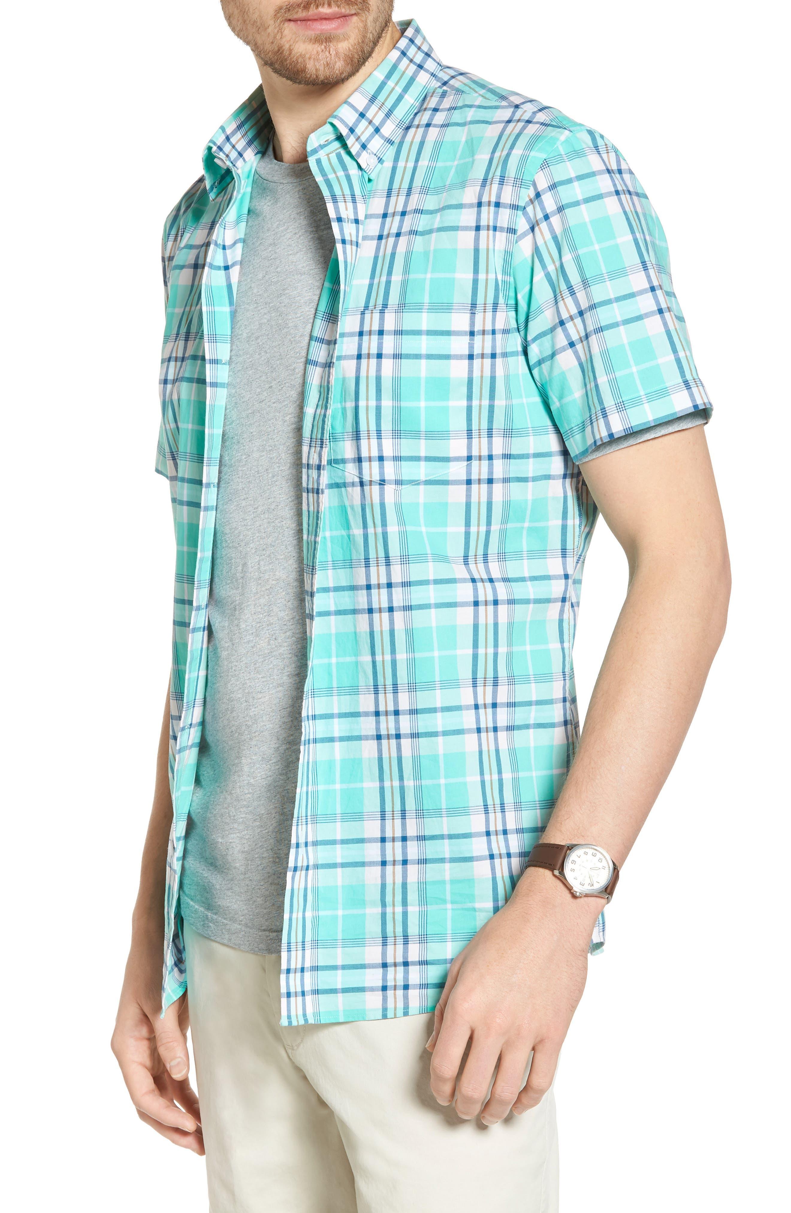 Trim Fit Tartan Stretch Sport Shirt,                         Main,                         color, Green Largo Tartan