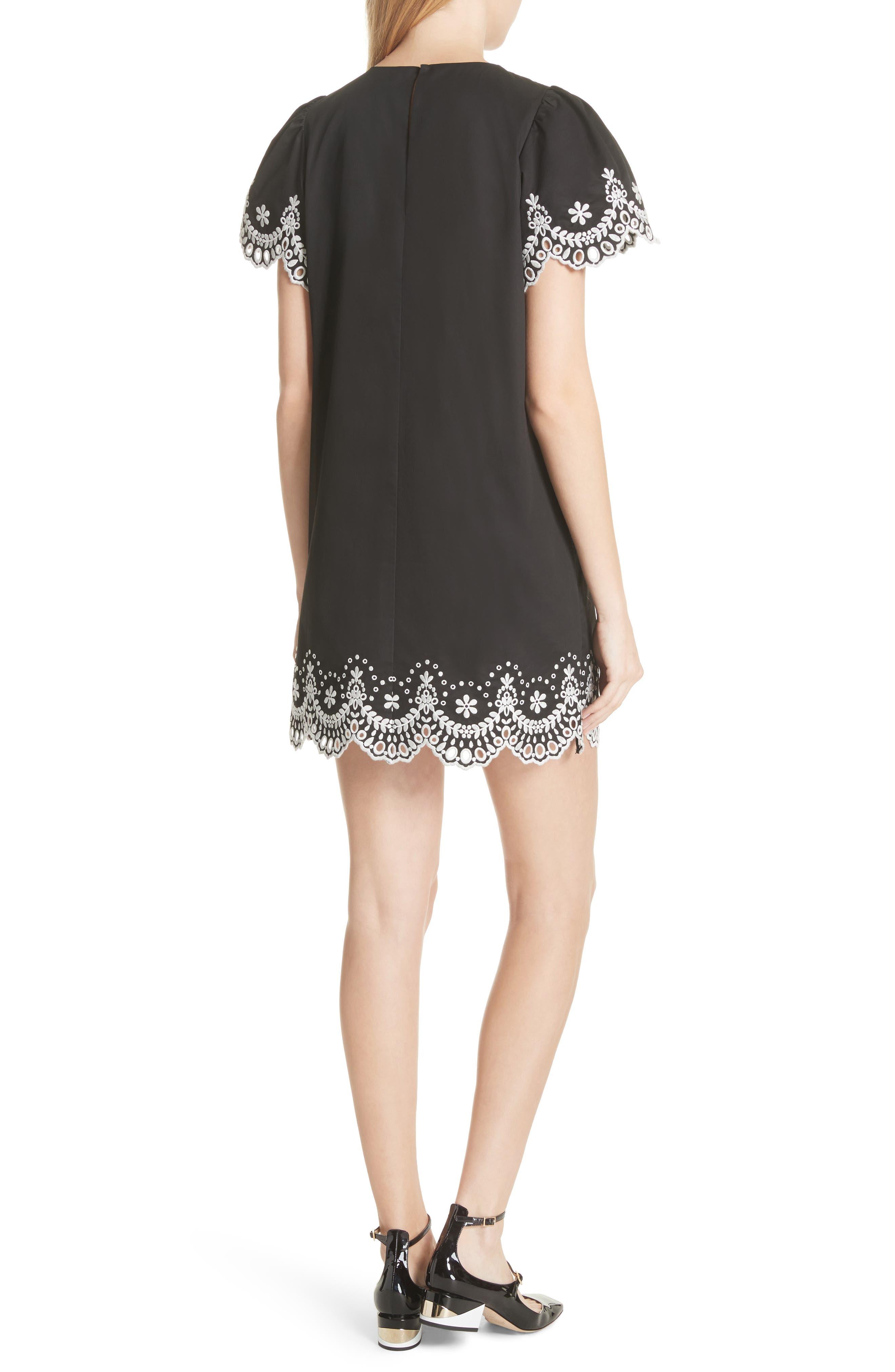 embroidered cutwork minidress,                             Alternate thumbnail 2, color,                             Black