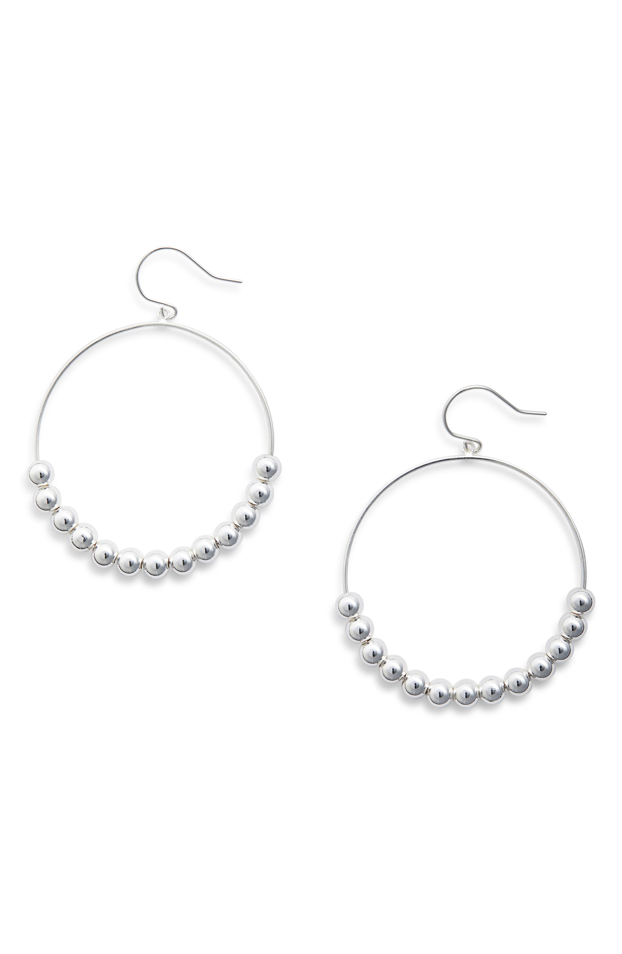 Newport Large Drop Hoops,                         Main,                         color, Silver