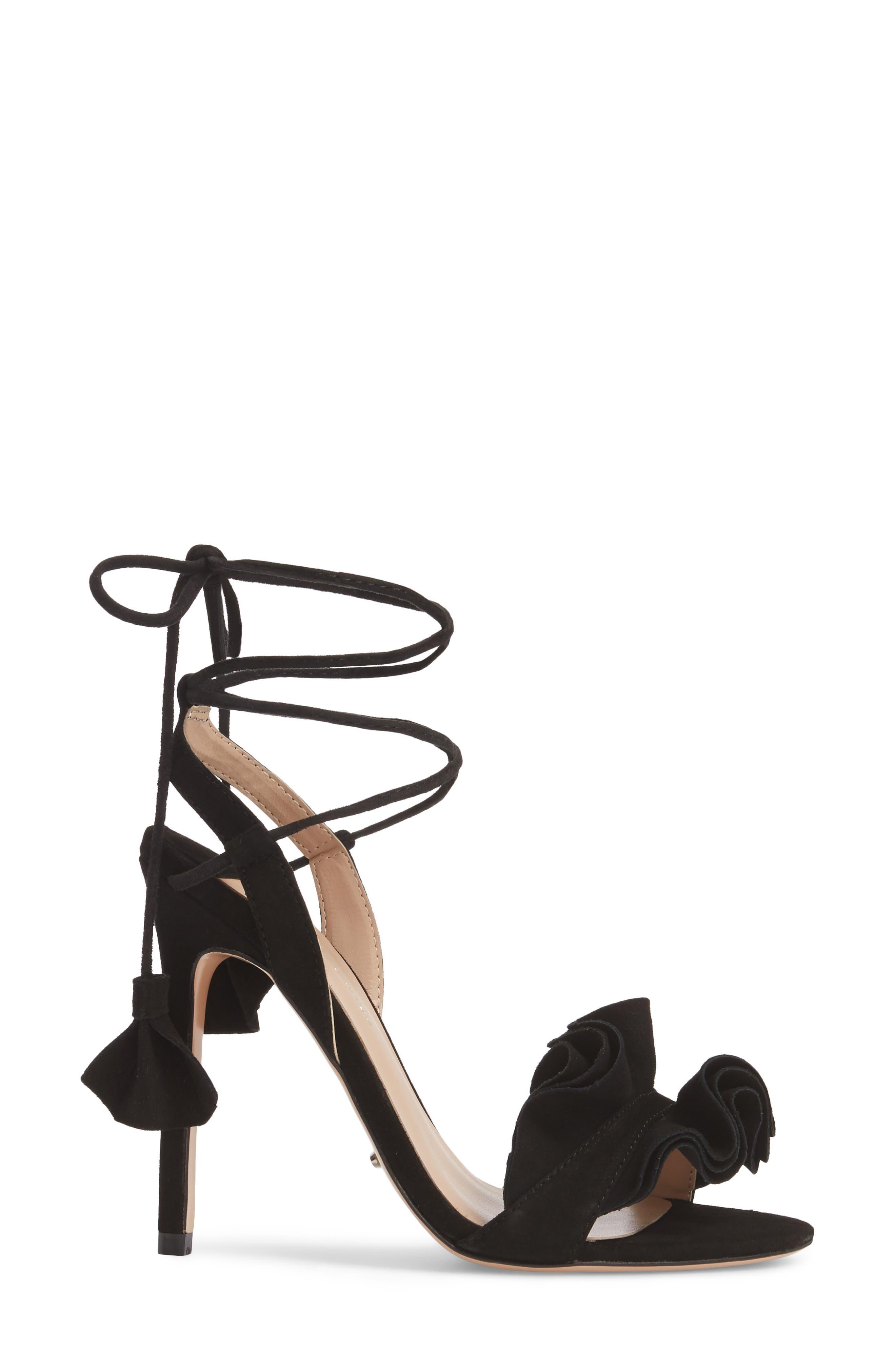 Kalipso Ruffled Wraparound Sandal,                             Alternate thumbnail 3, color,                             Black Suede
