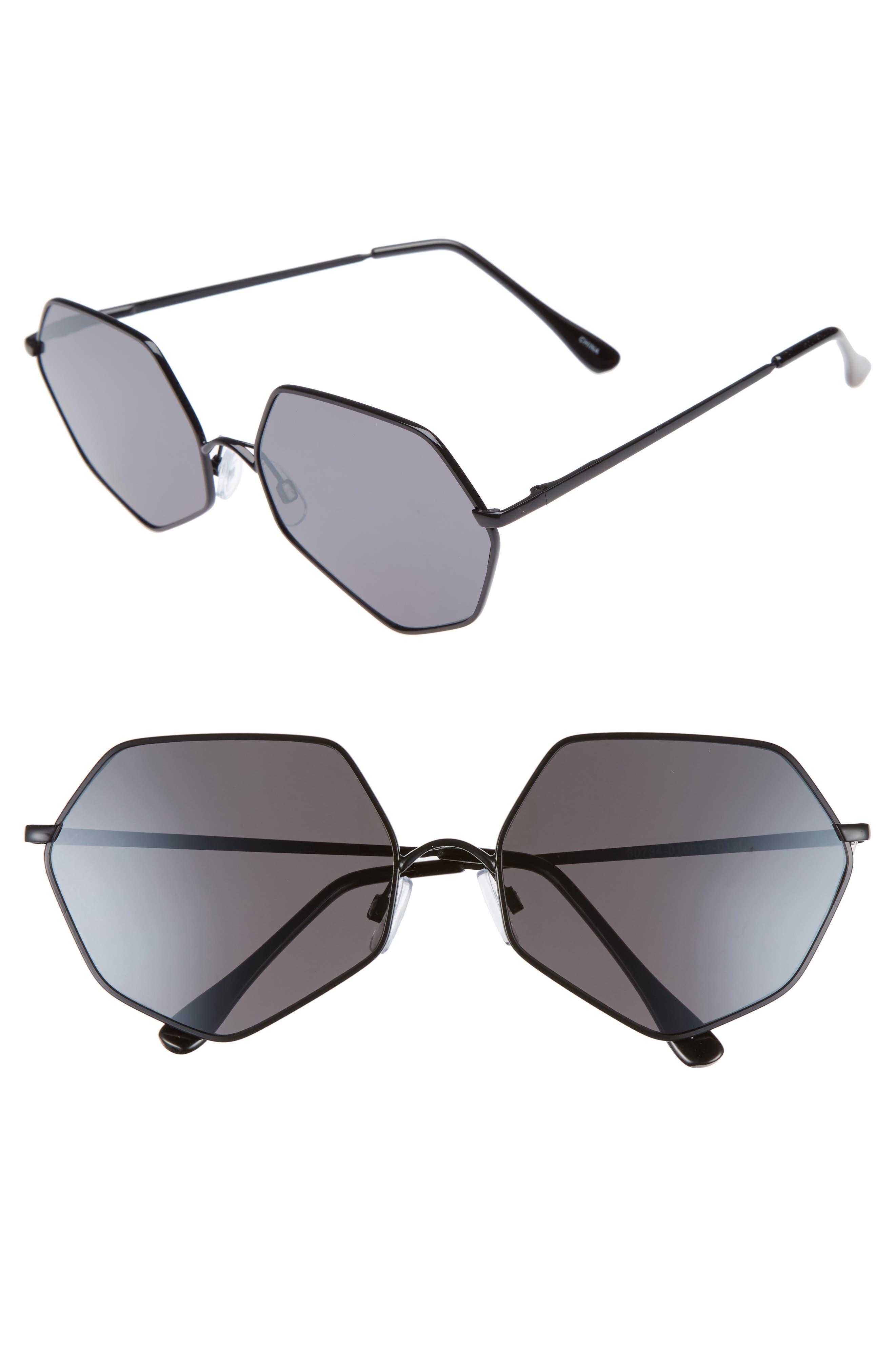 60 mm Geometric Metal Aviator Sunglasses,                             Main thumbnail 1, color,                             Black/ Black