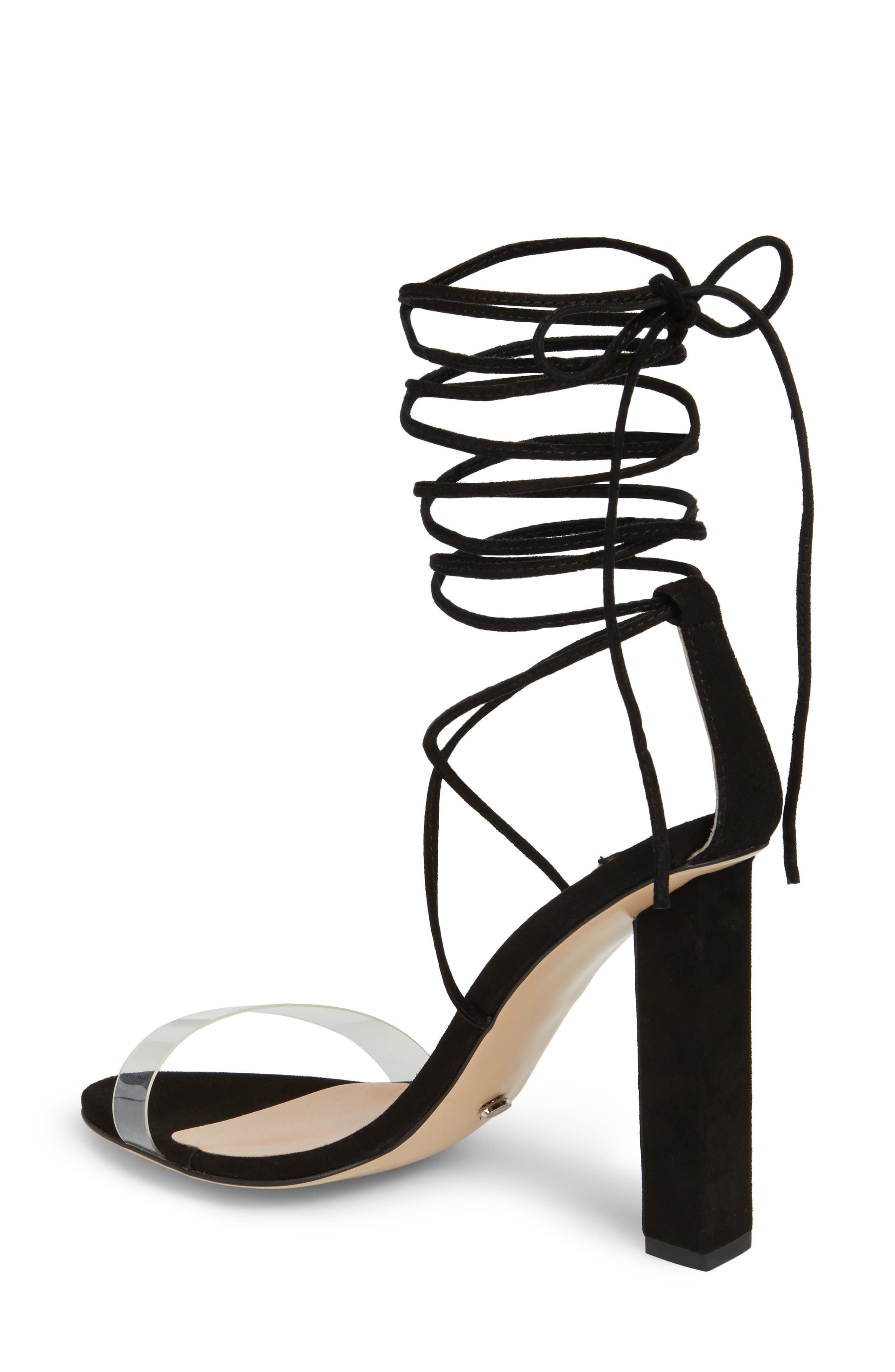 Kendall Ankle Tie Sandal,                             Alternate thumbnail 2, color,                             Clear/ Black Suede