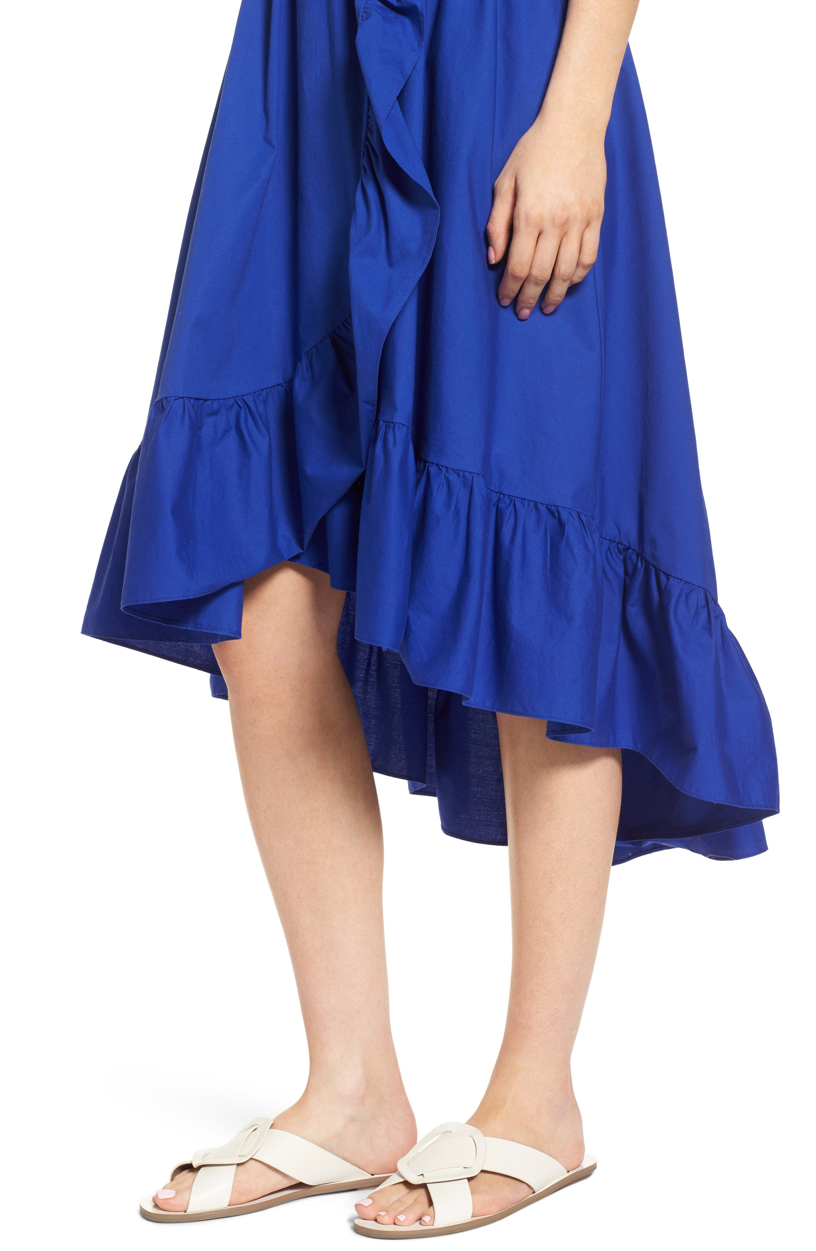 Belted High/Low Dress,                             Alternate thumbnail 4, color,                             Blue Mazarine