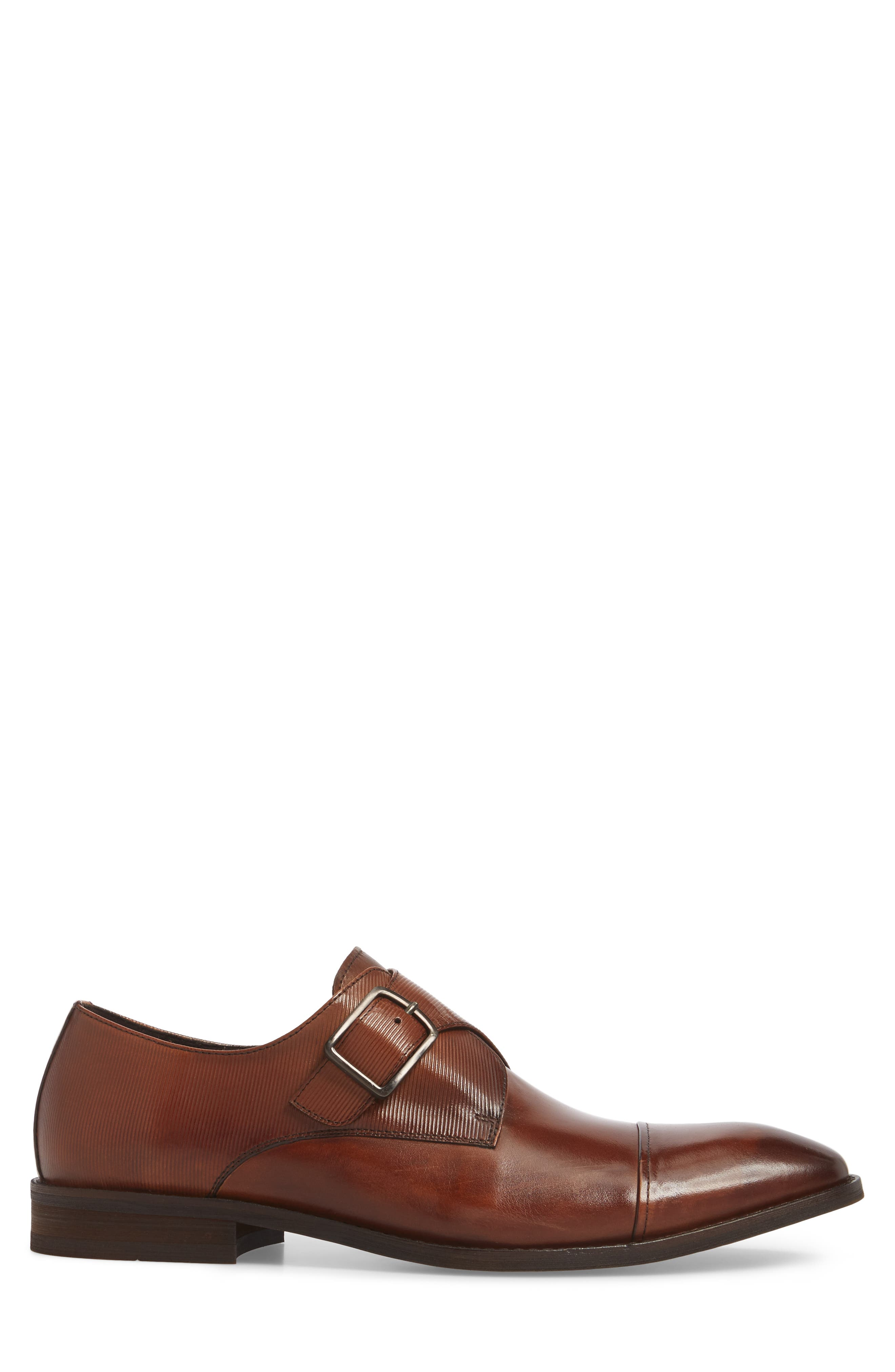 Courage Monk Strap Shoe,                             Alternate thumbnail 3, color,                             Cognac Leather