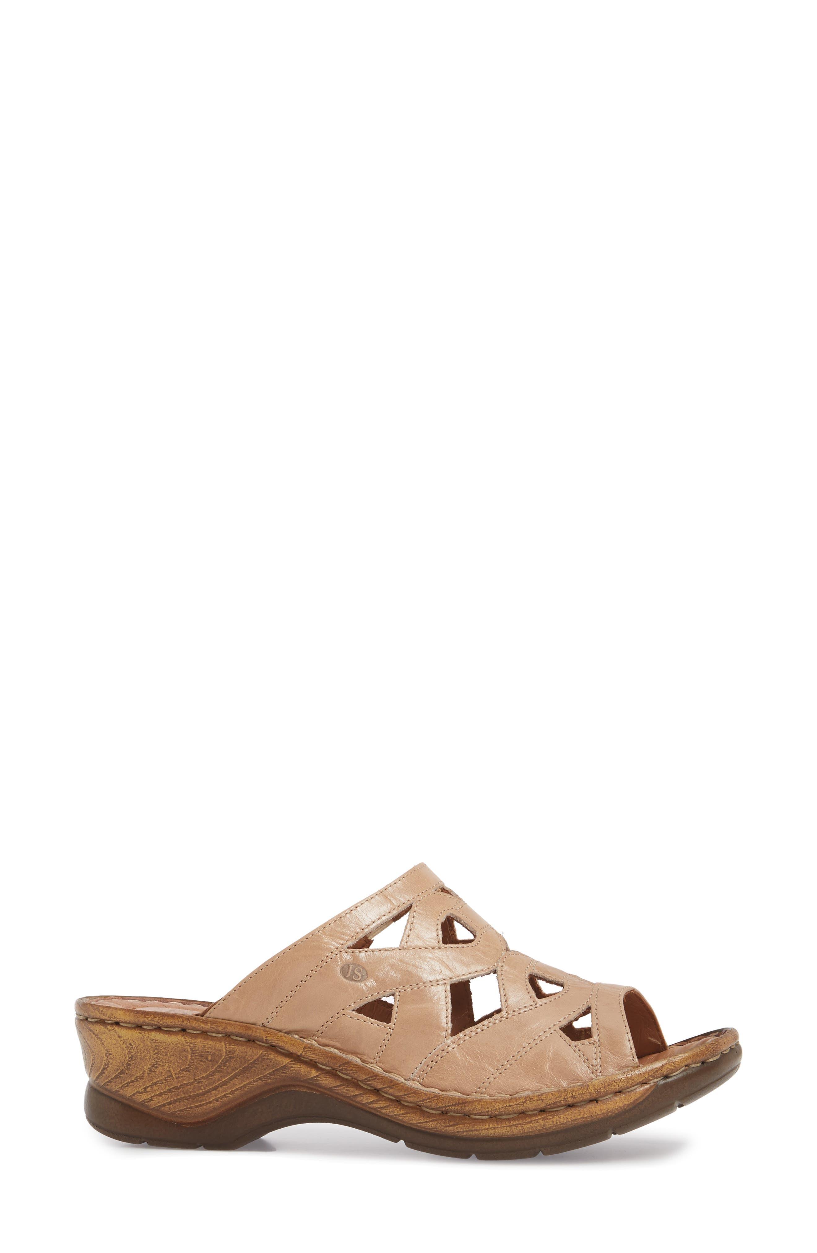 Catalonia 44 Slide Sandal,                             Alternate thumbnail 3, color,                             Beige Leather