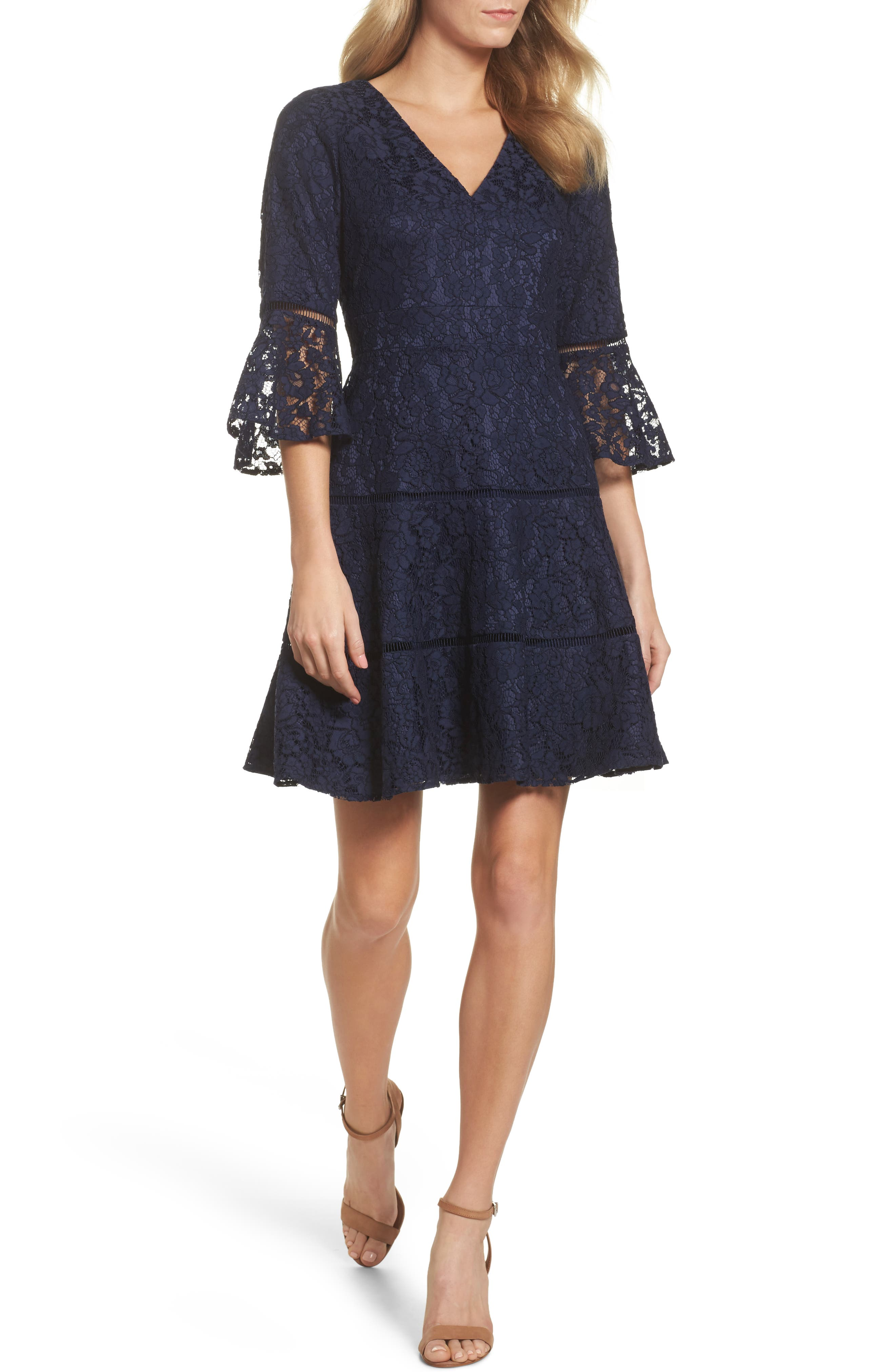 Bell Sleeve Lace Fit & Flare Dress,                             Main thumbnail 1, color,                             Navy