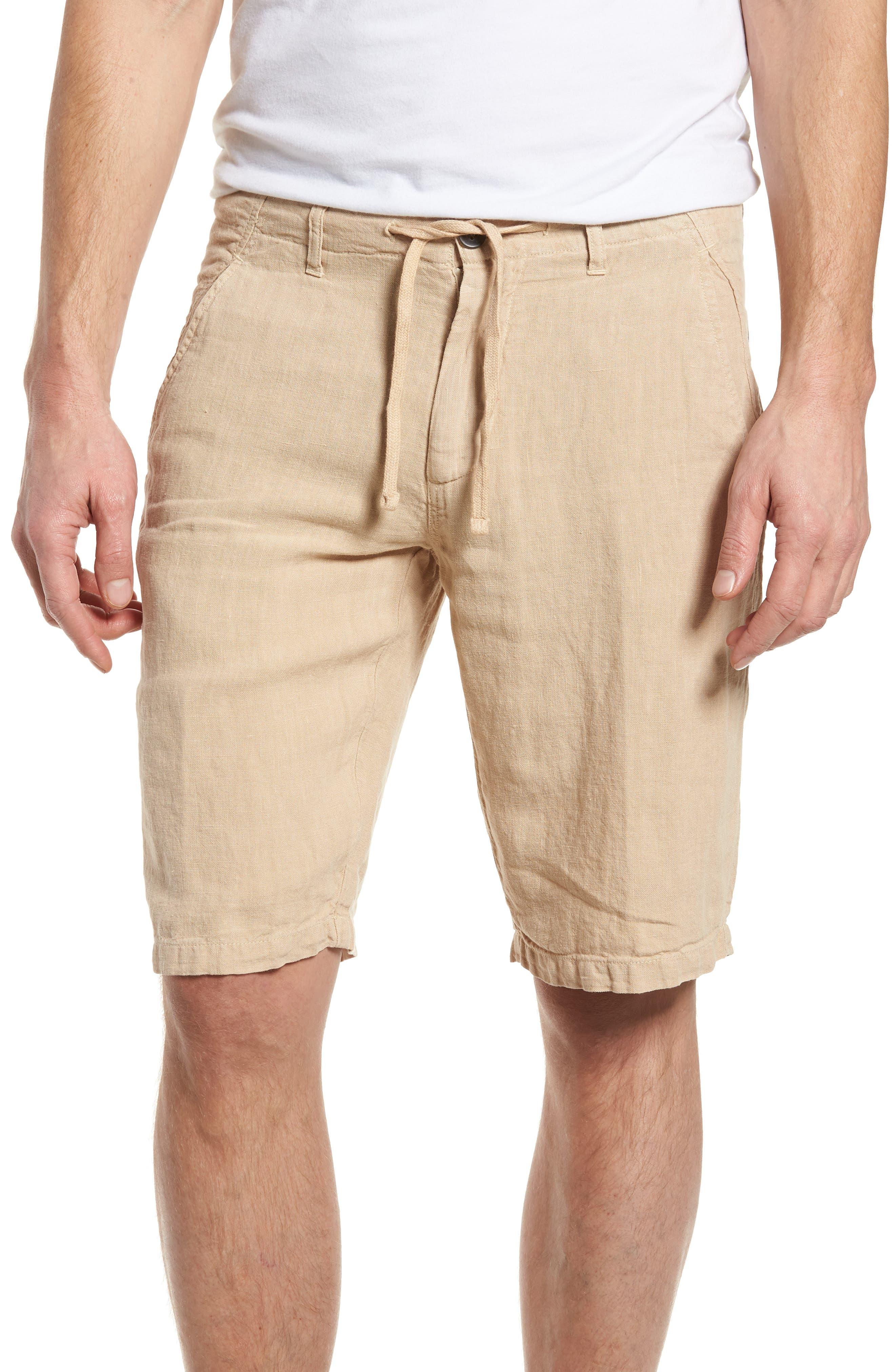 & Bros. Linen Shorts,                         Main,                         color, Desert Dust