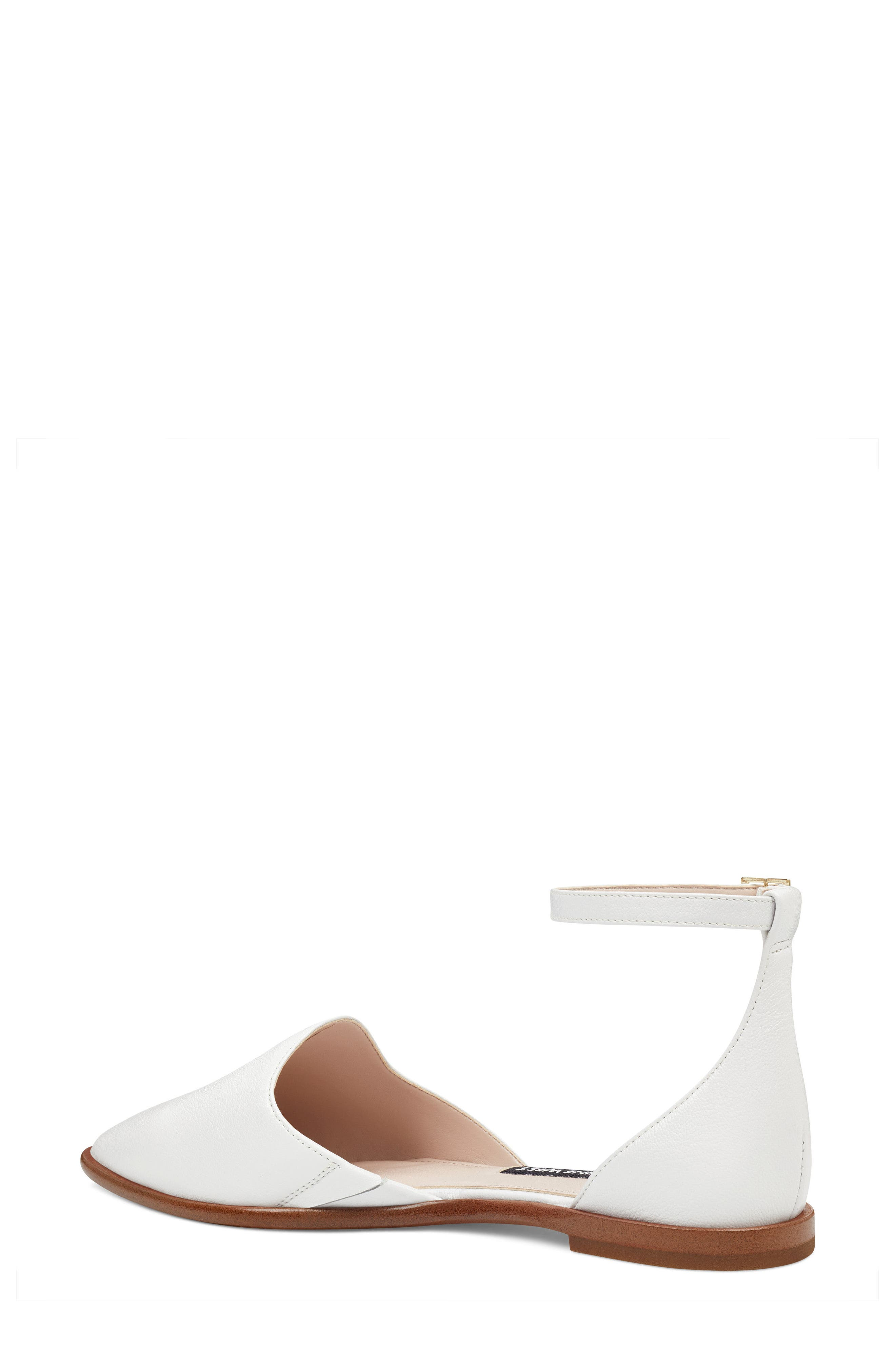 Oriona Ankle Strap Flat,                             Alternate thumbnail 2, color,                             White Leather