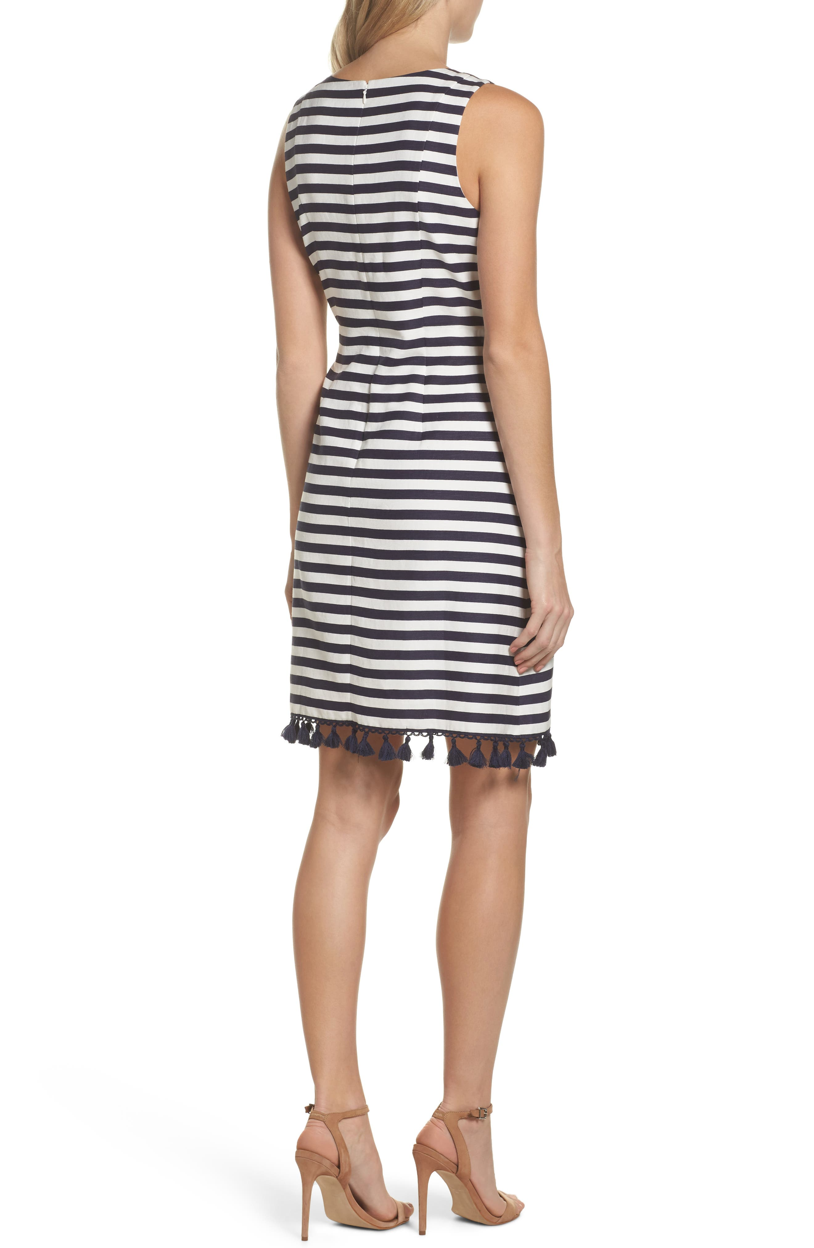 Stripe A-Line Dress,                             Alternate thumbnail 2, color,                             Navy/ White