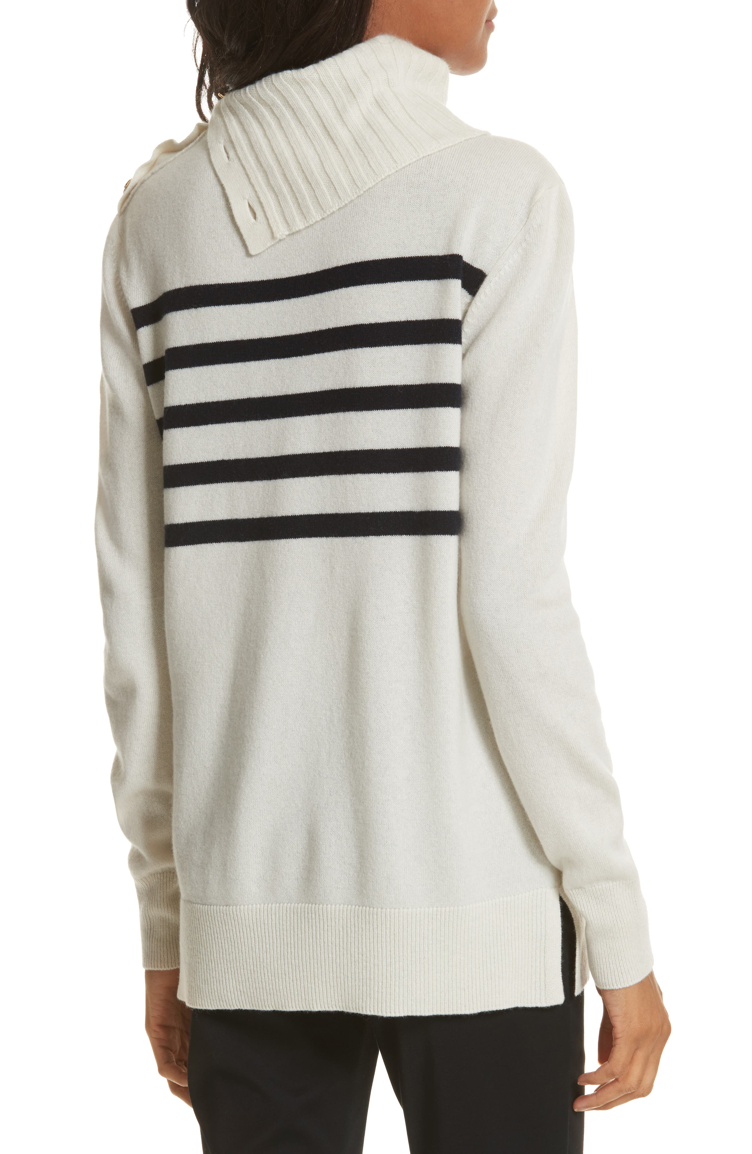 Sandra Cashmere Sweater,                             Alternate thumbnail 2, color,                             New Ivory / Tory Navy