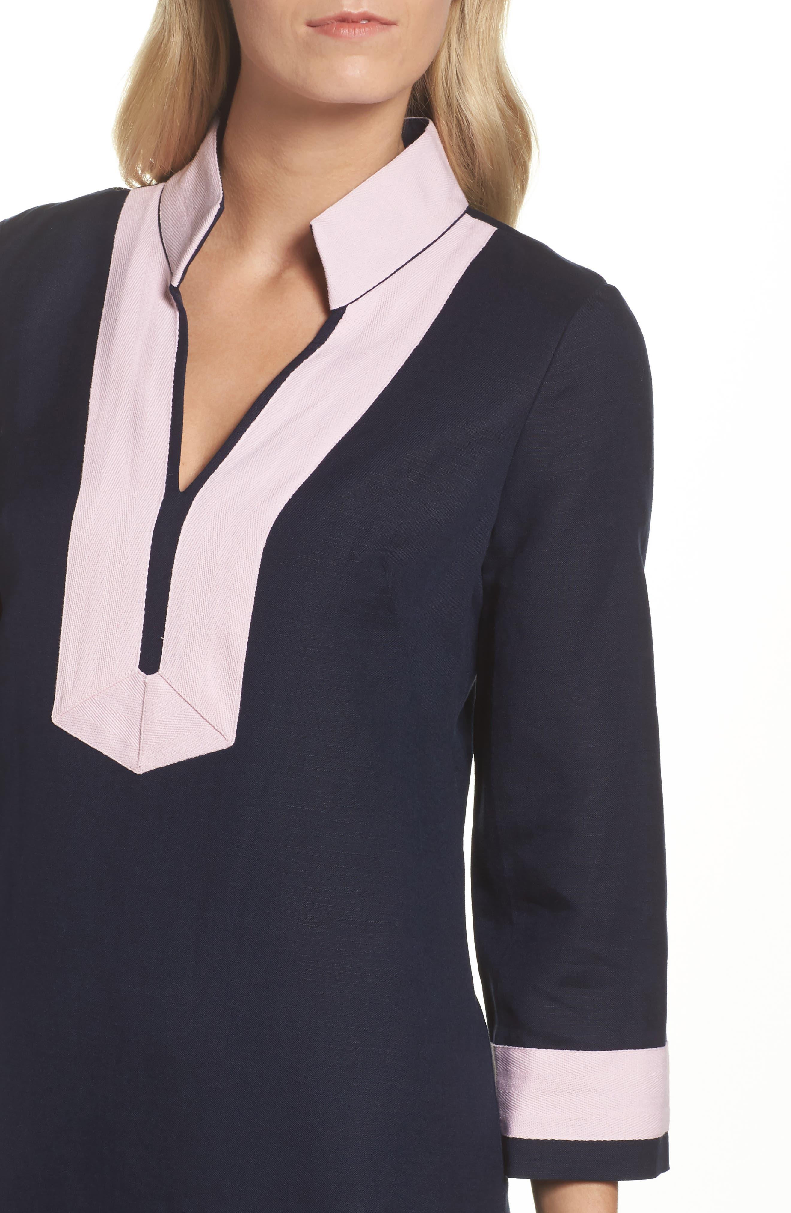 Mandarin Collar Shift Dress,                             Alternate thumbnail 4, color,                             Navy/ Pansy