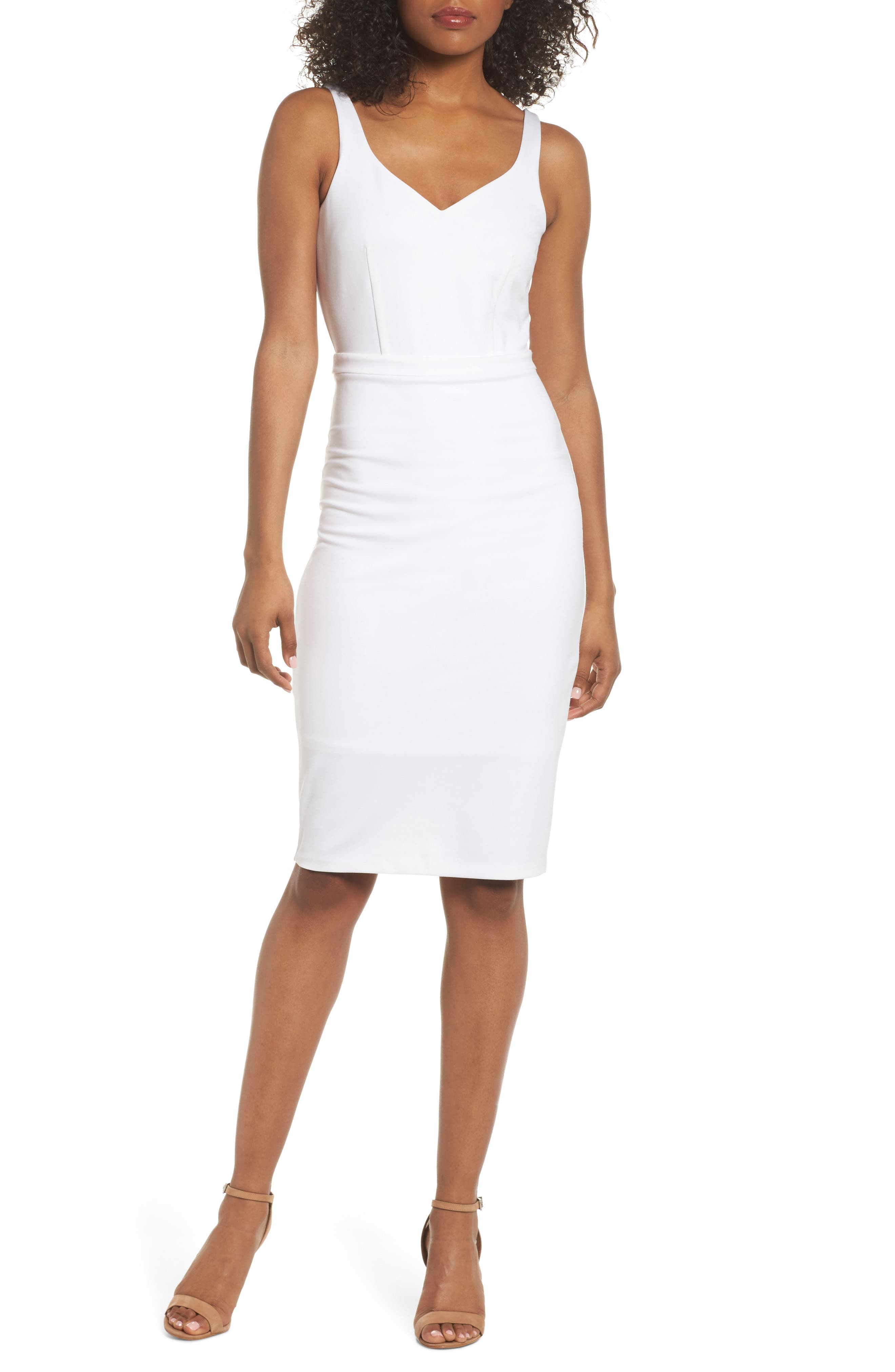 First Date Sheath Dress,                         Main,                         color, White