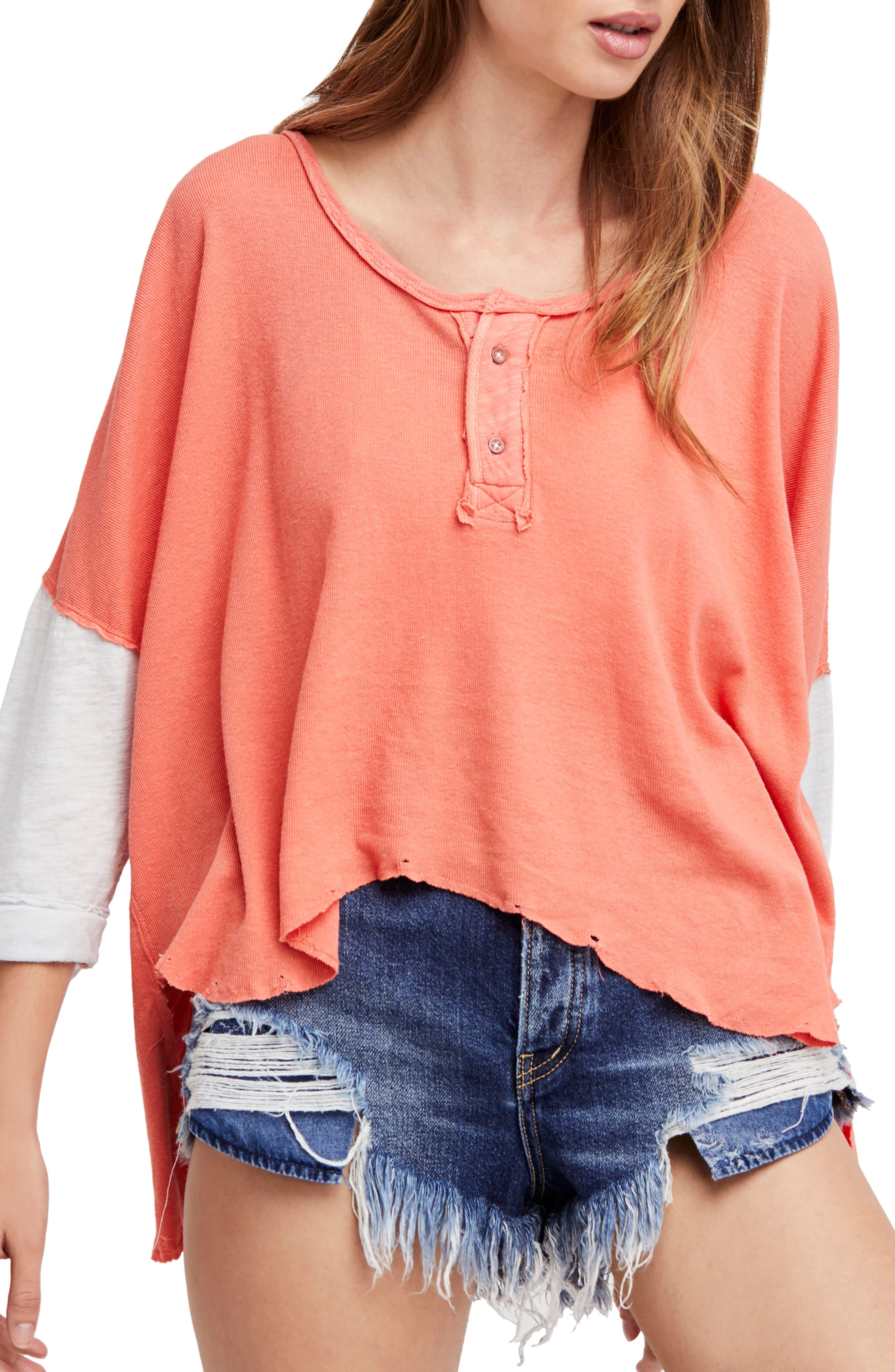 We the Free Star Henley Top,                             Main thumbnail 1, color,                             Coral