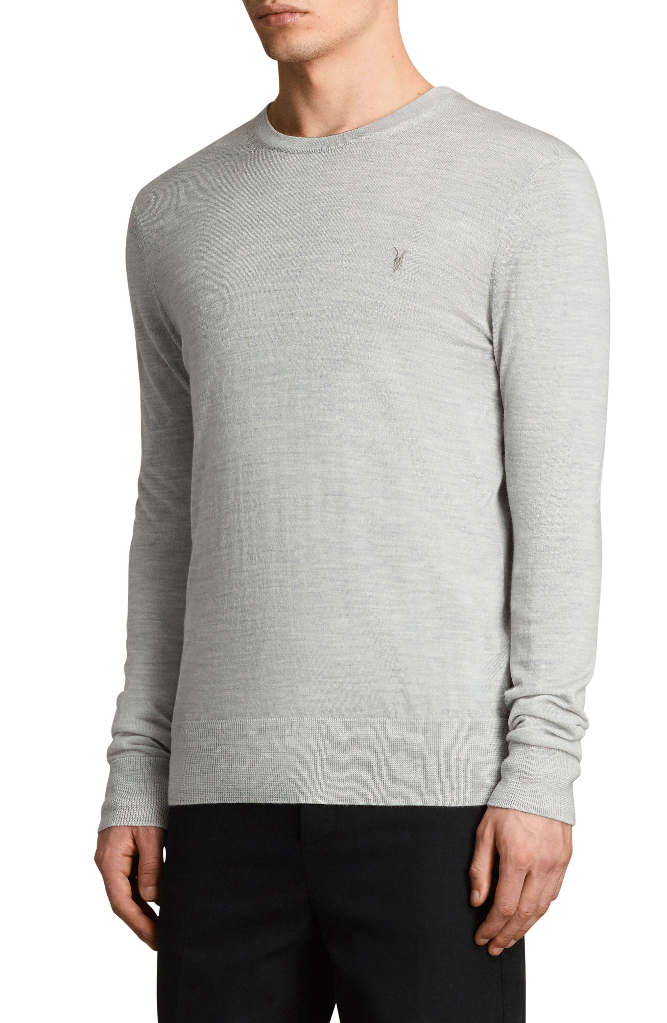 Mode Slim Fit Merino Wool Sweater,                             Alternate thumbnail 4, color,                             Light Grey Marl