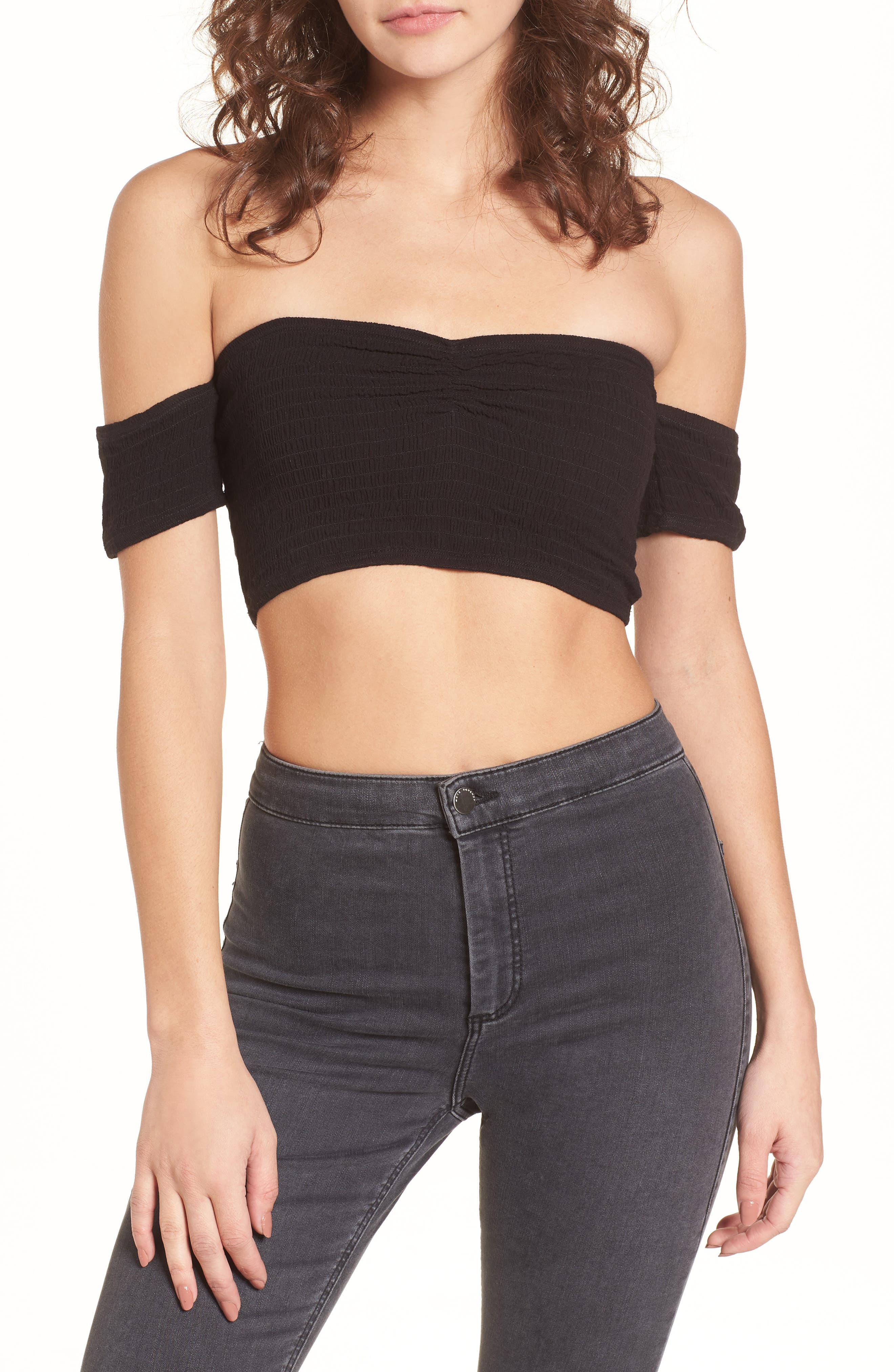 Addicted 2 Me Smocked Crop Top,                             Main thumbnail 1, color,                             Black