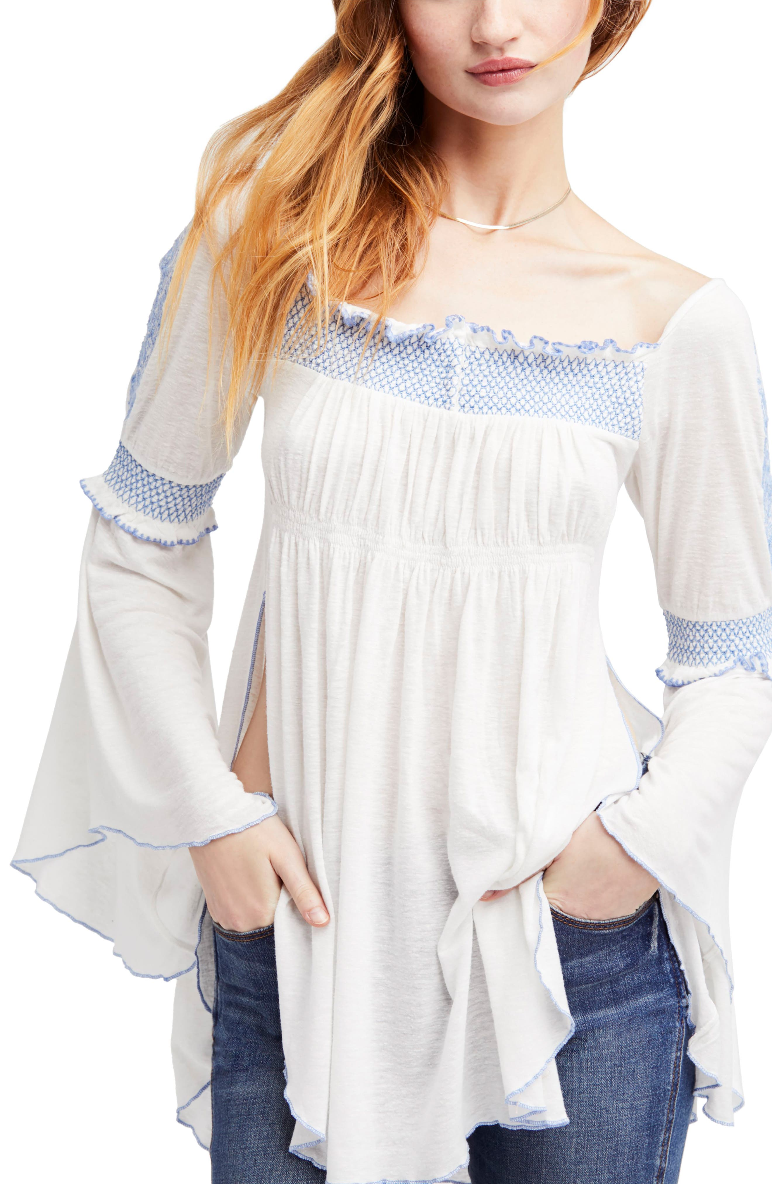 Valley Embroidered Bell Sleeve Top,                             Main thumbnail 1, color,                             Ivory
