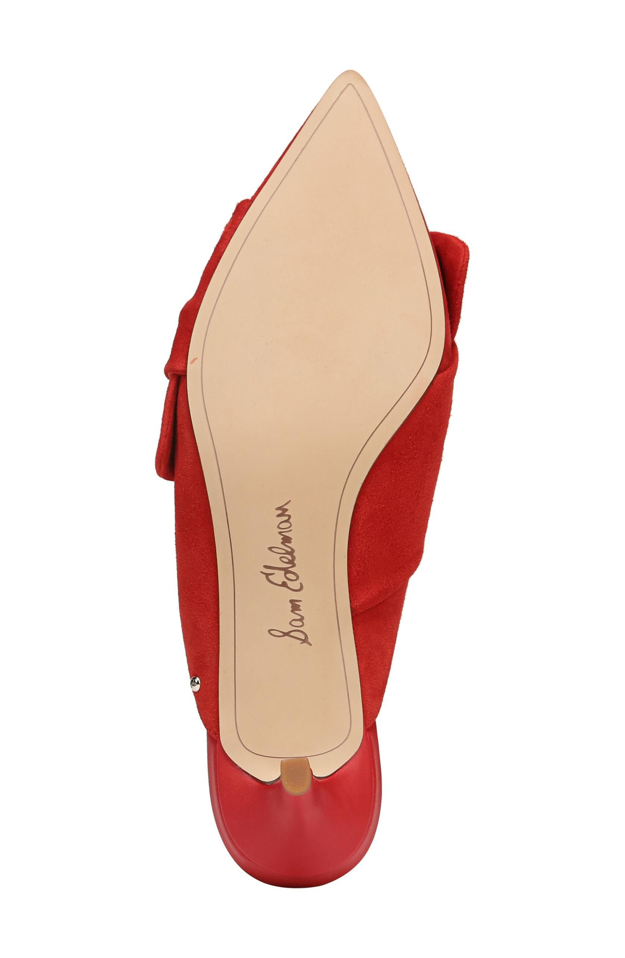 Laney Pointy Toe Mule,                             Alternate thumbnail 6, color,                             Candy Red Suede