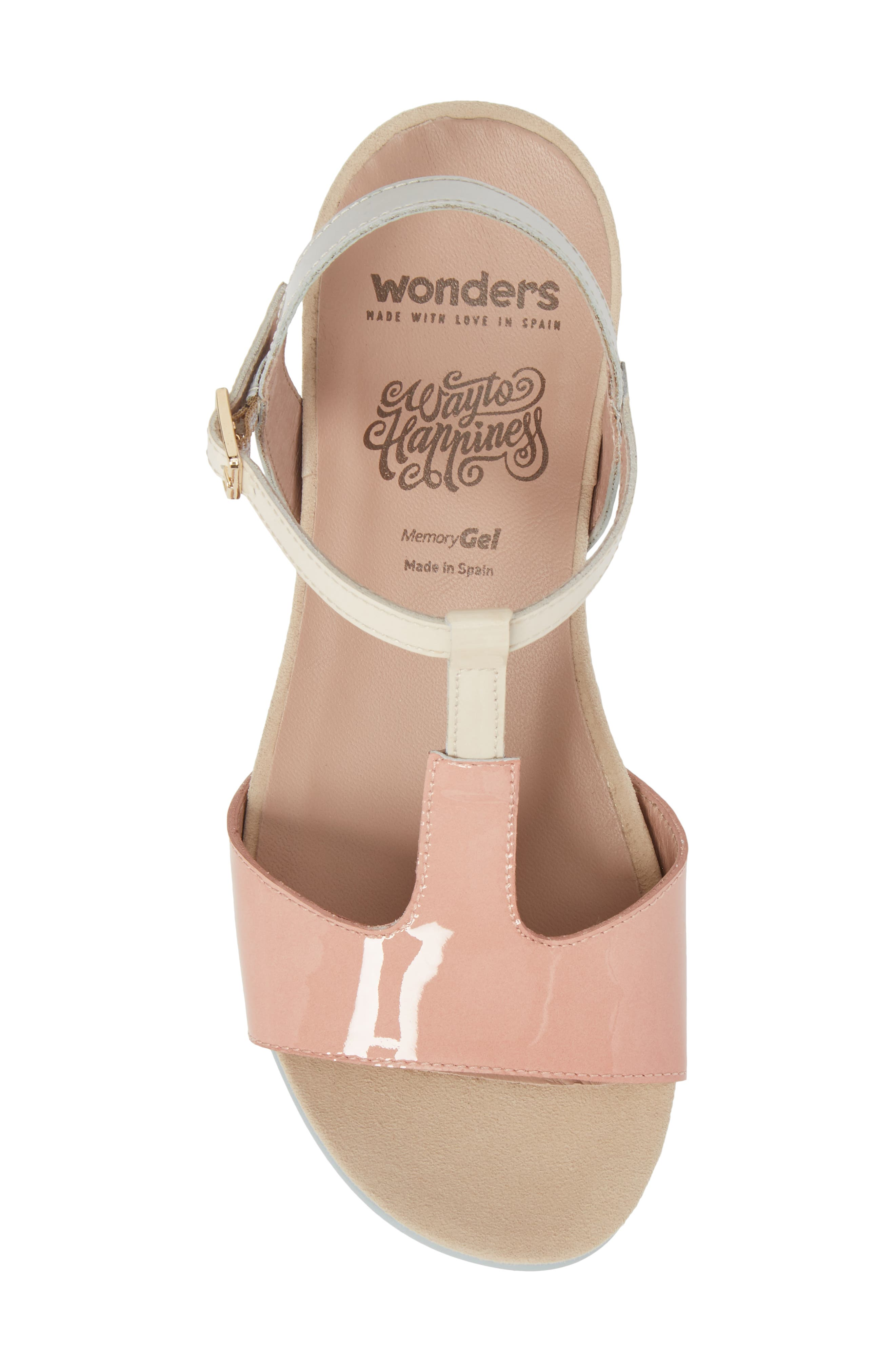 Wedge Sandal,                             Alternate thumbnail 5, color,                             Nude/ Off/ Light Grey Leather