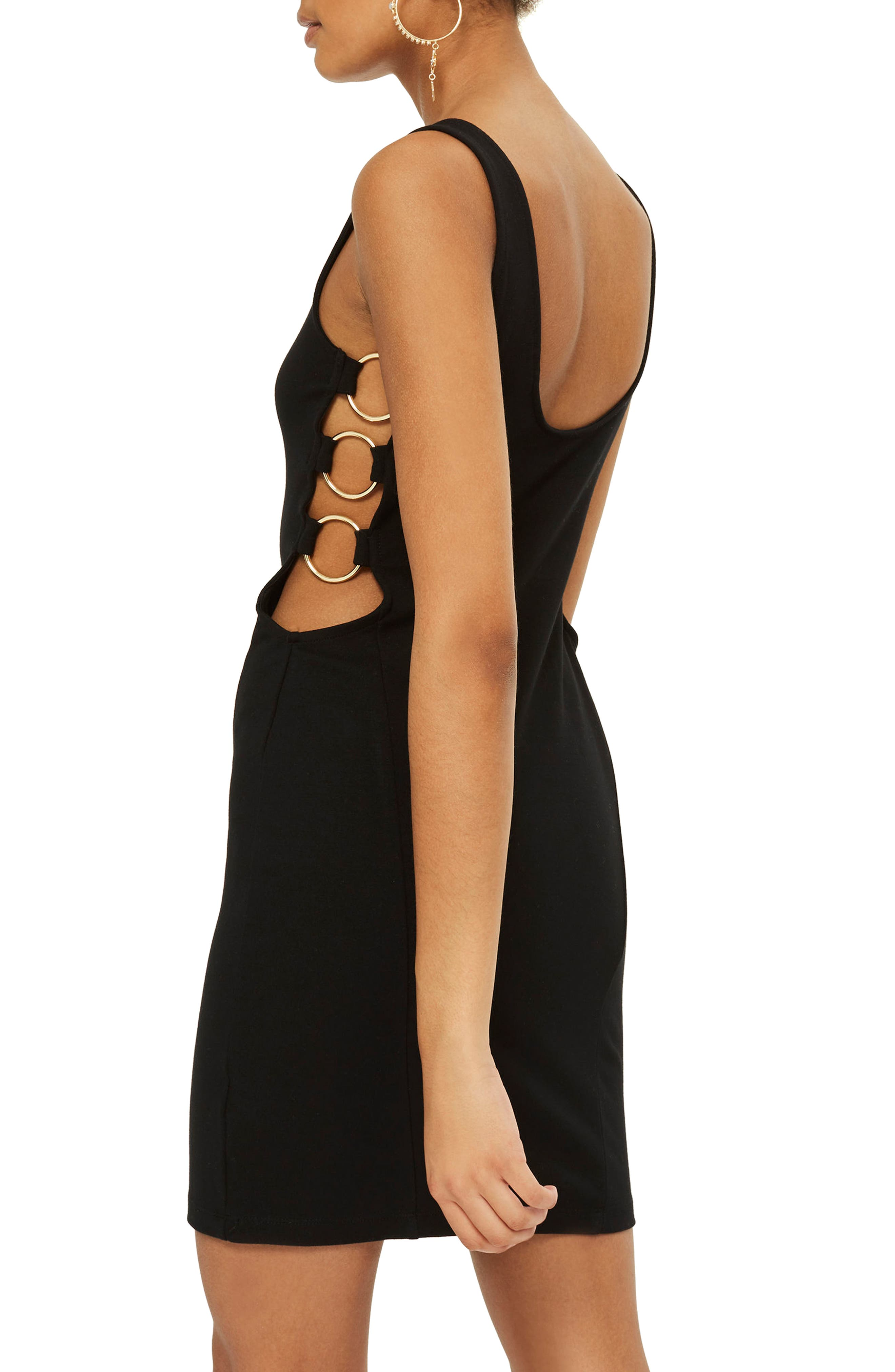 Ring Body-Con Dress,                             Alternate thumbnail 2, color,                             Black