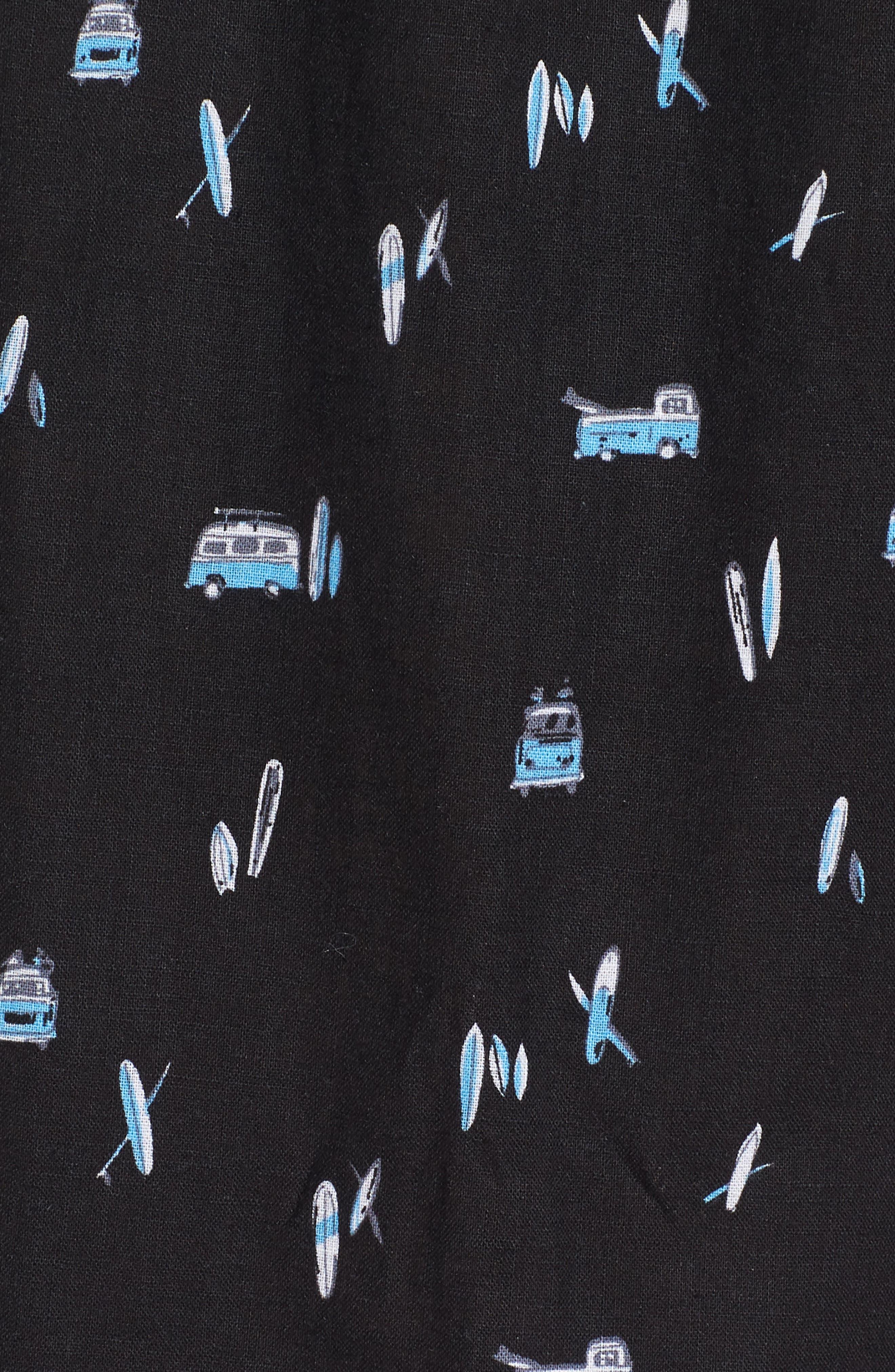 Surf Bus Trim Fit Print Sport Shirt,                             Alternate thumbnail 5, color,                             Black