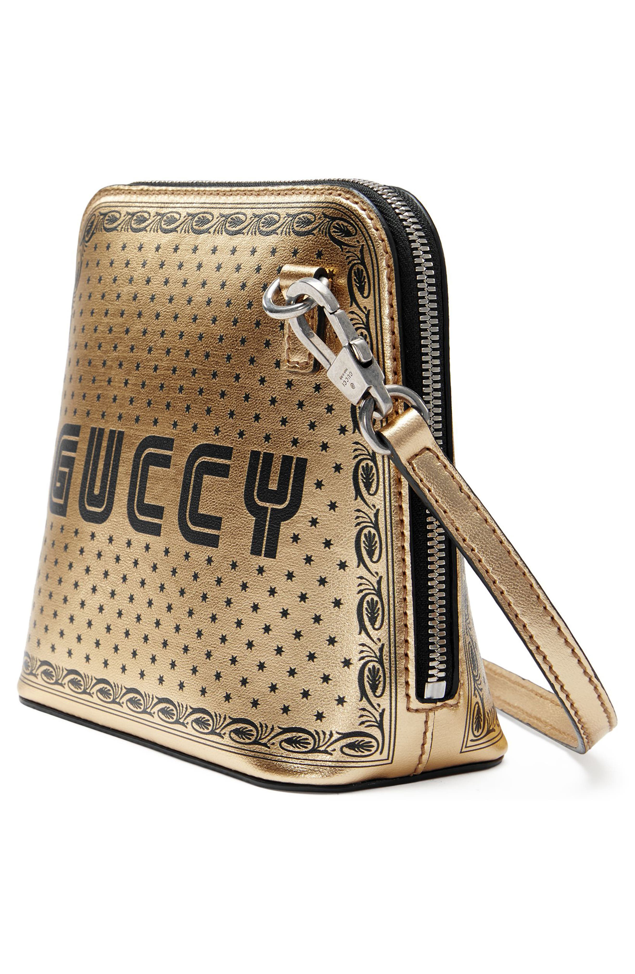 Guccy Logo Moon & Stars Leather Crossbody Bag,                             Alternate thumbnail 4, color,                             Oro/ Nero